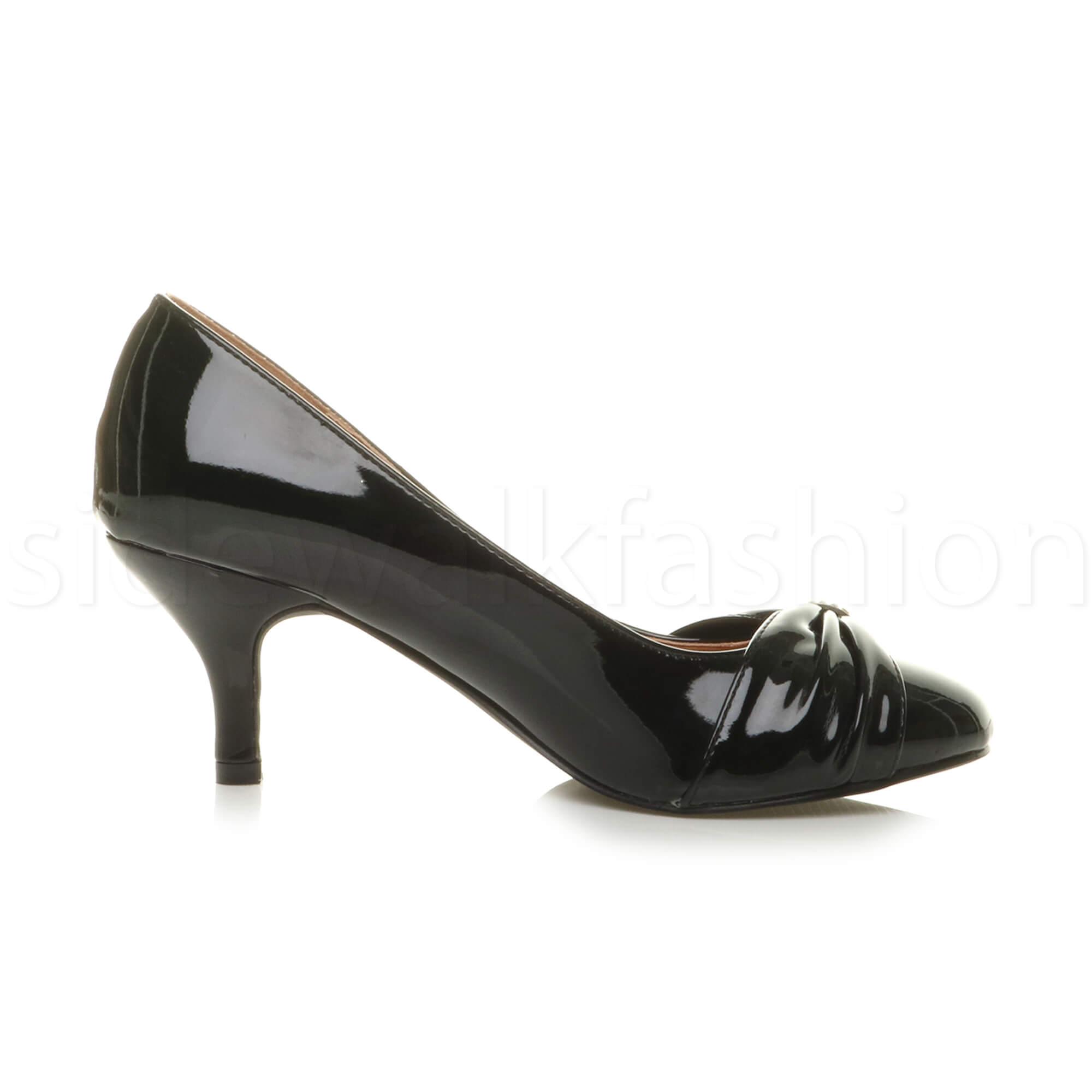 Womens-ladies-low-mid-heel-diamante-party-smart-evening-court-shoes-size thumbnail 12