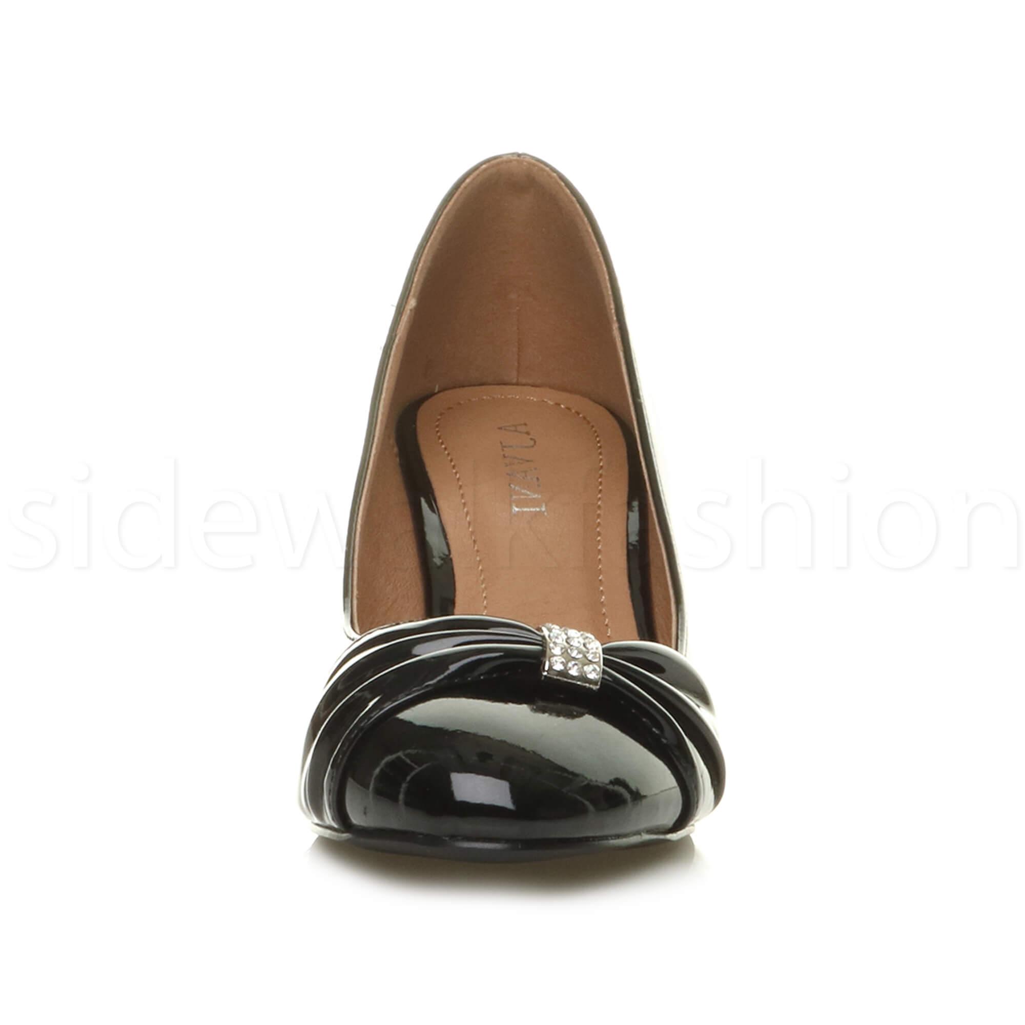 Womens-ladies-low-mid-heel-diamante-party-smart-evening-court-shoes-size thumbnail 15