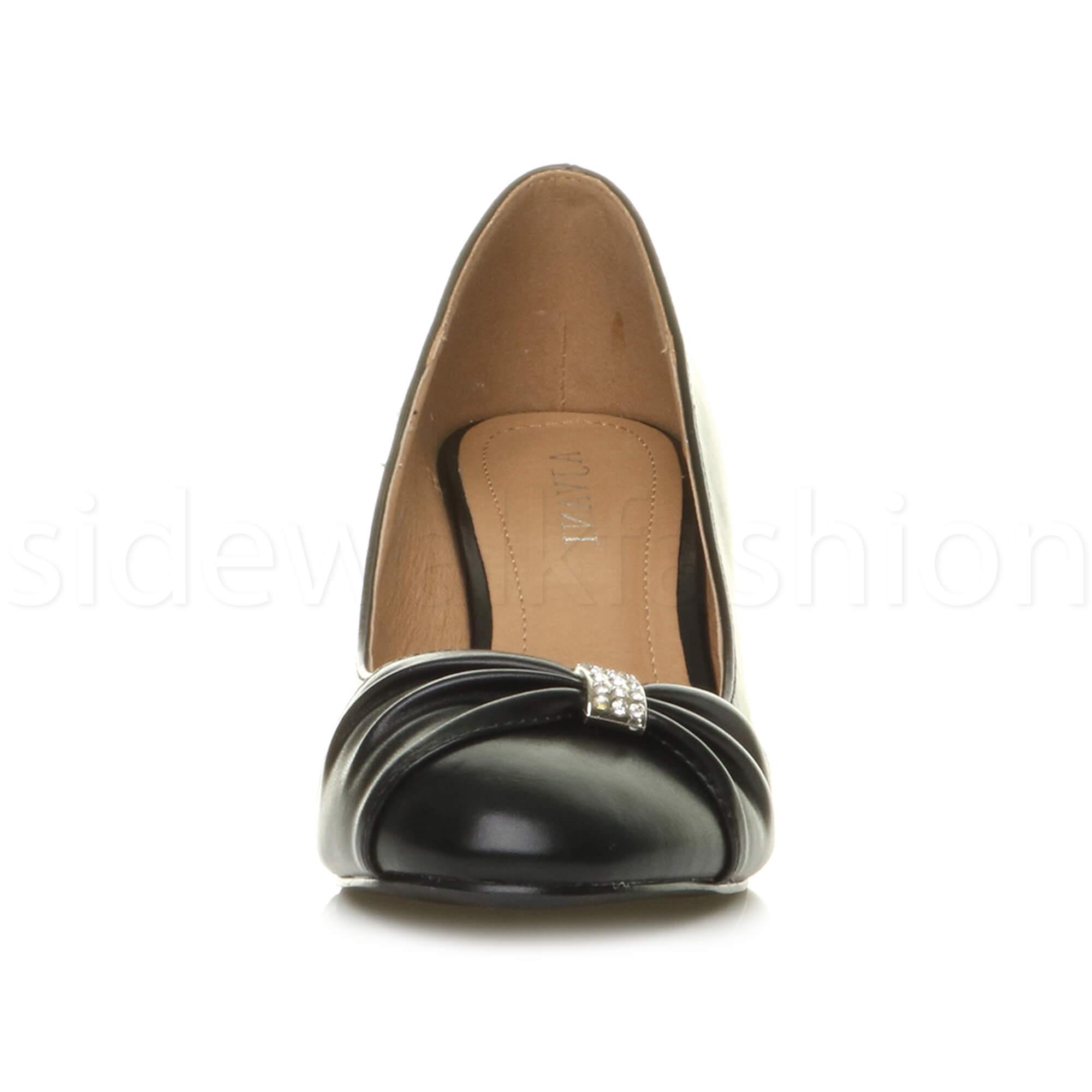 Womens-ladies-low-mid-heel-diamante-party-smart-evening-court-shoes-size thumbnail 7