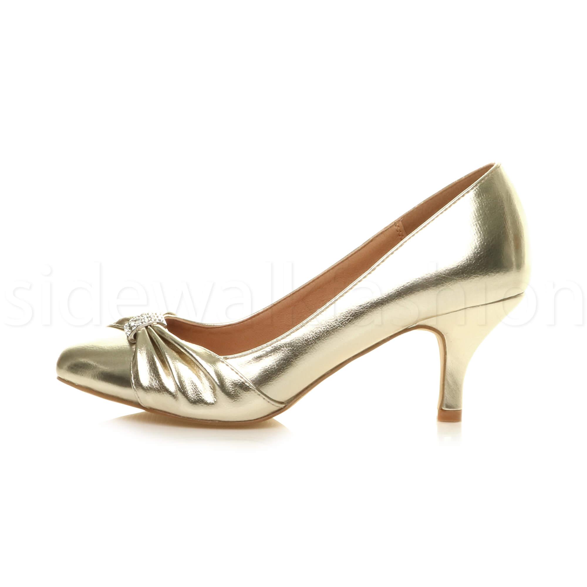 Womens-ladies-low-mid-heel-diamante-party-smart-evening-court-shoes-size thumbnail 27