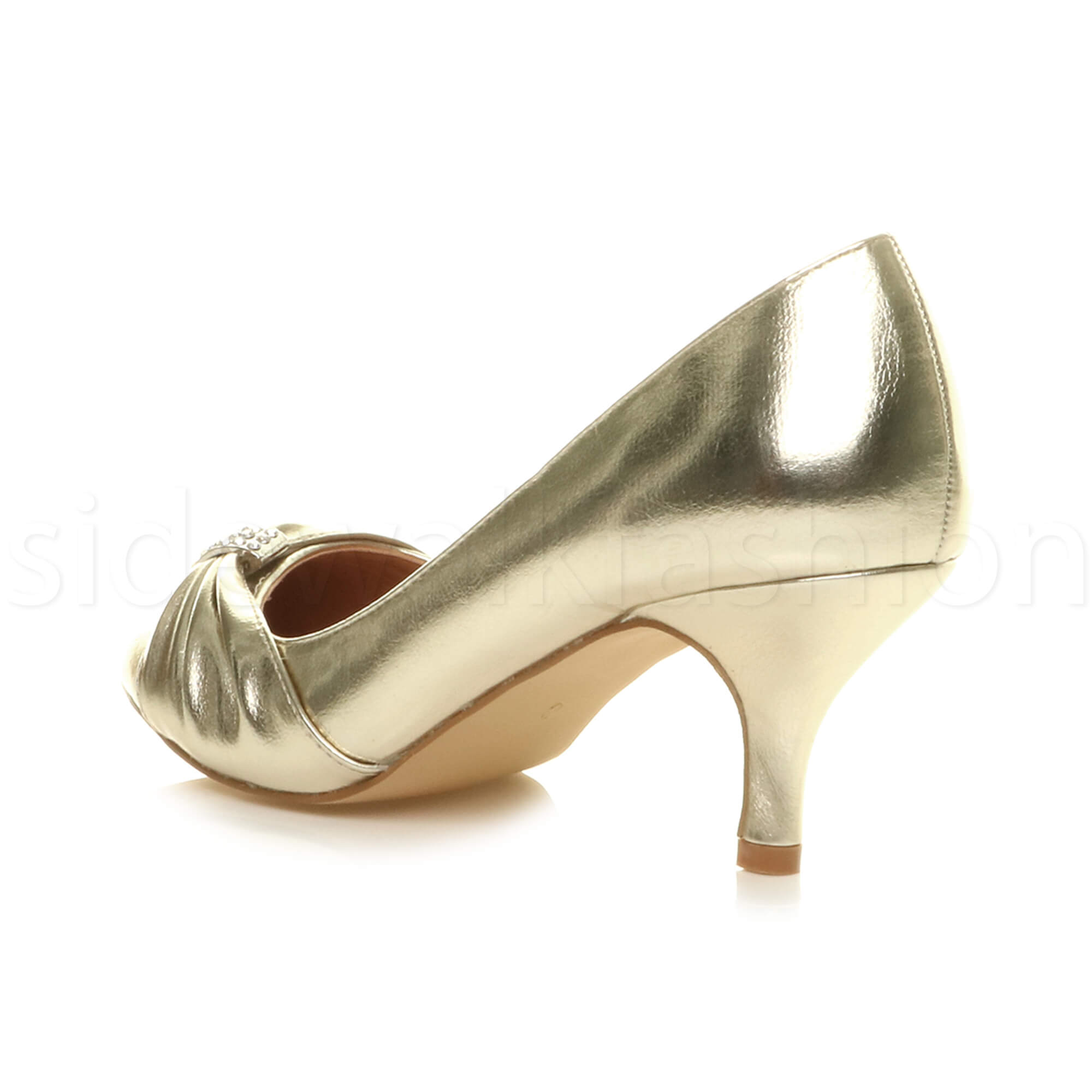 Womens-ladies-low-mid-heel-diamante-party-smart-evening-court-shoes-size thumbnail 29