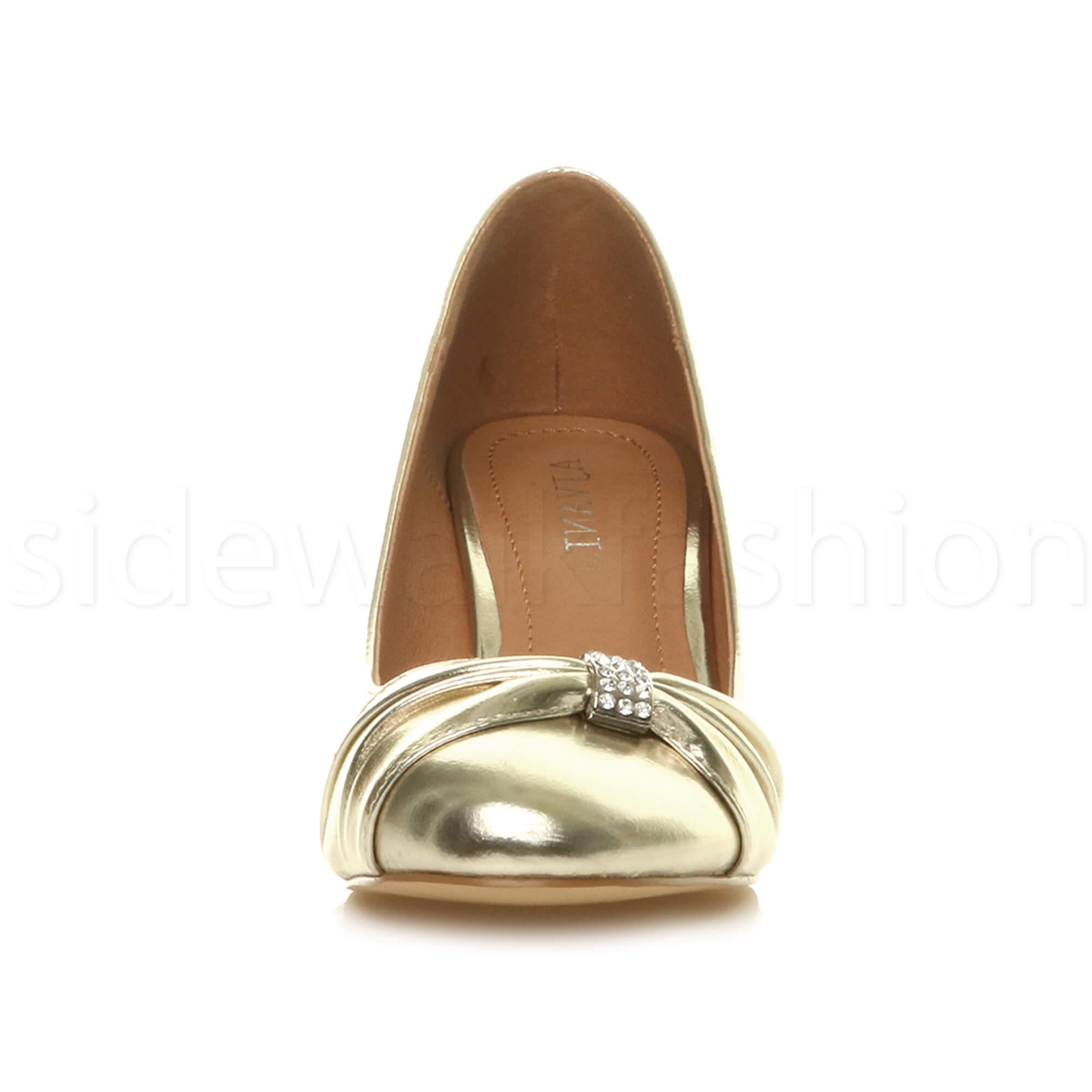 Womens-ladies-low-mid-heel-diamante-party-smart-evening-court-shoes-size thumbnail 31