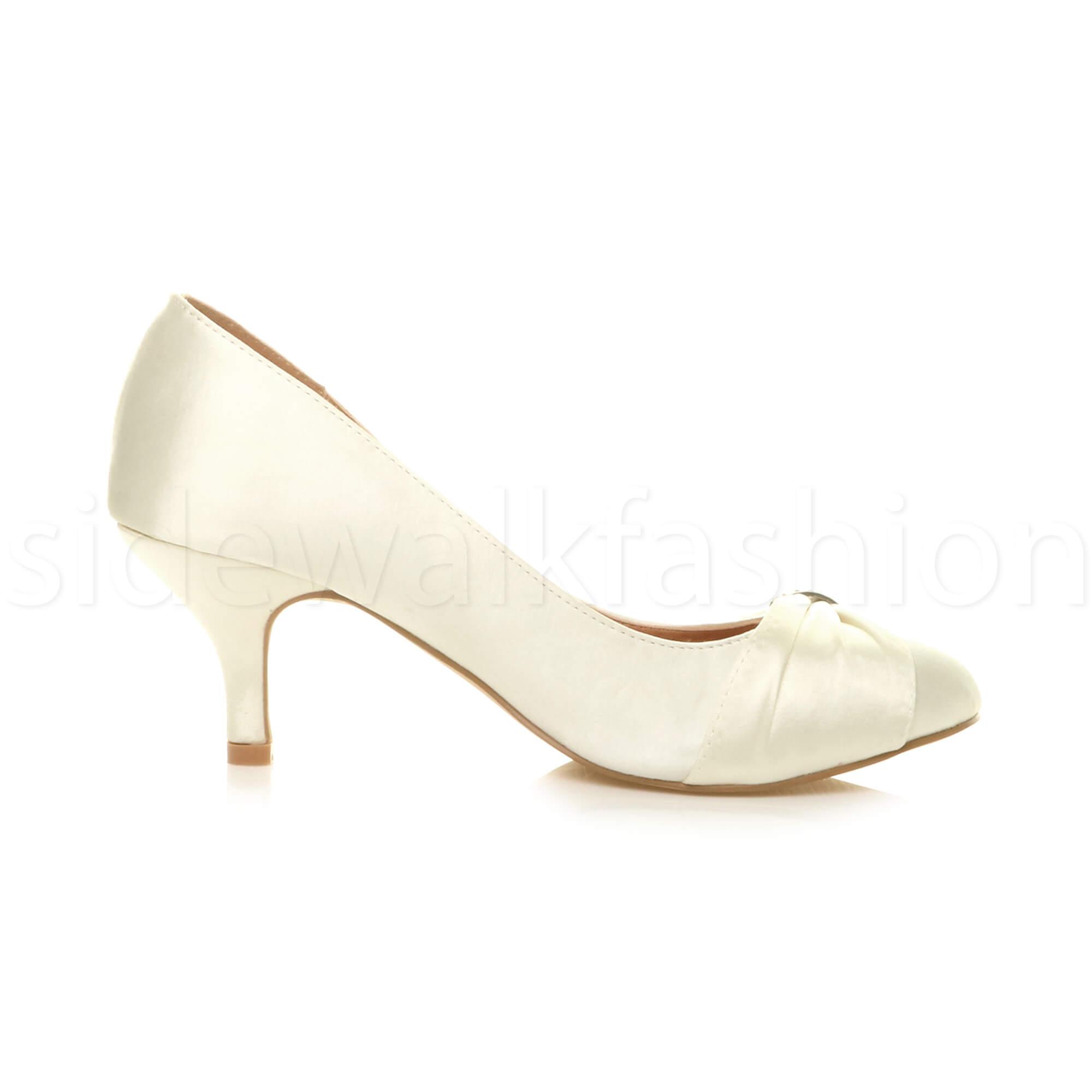 Womens-ladies-low-mid-heel-diamante-party-smart-evening-court-shoes-size thumbnail 36