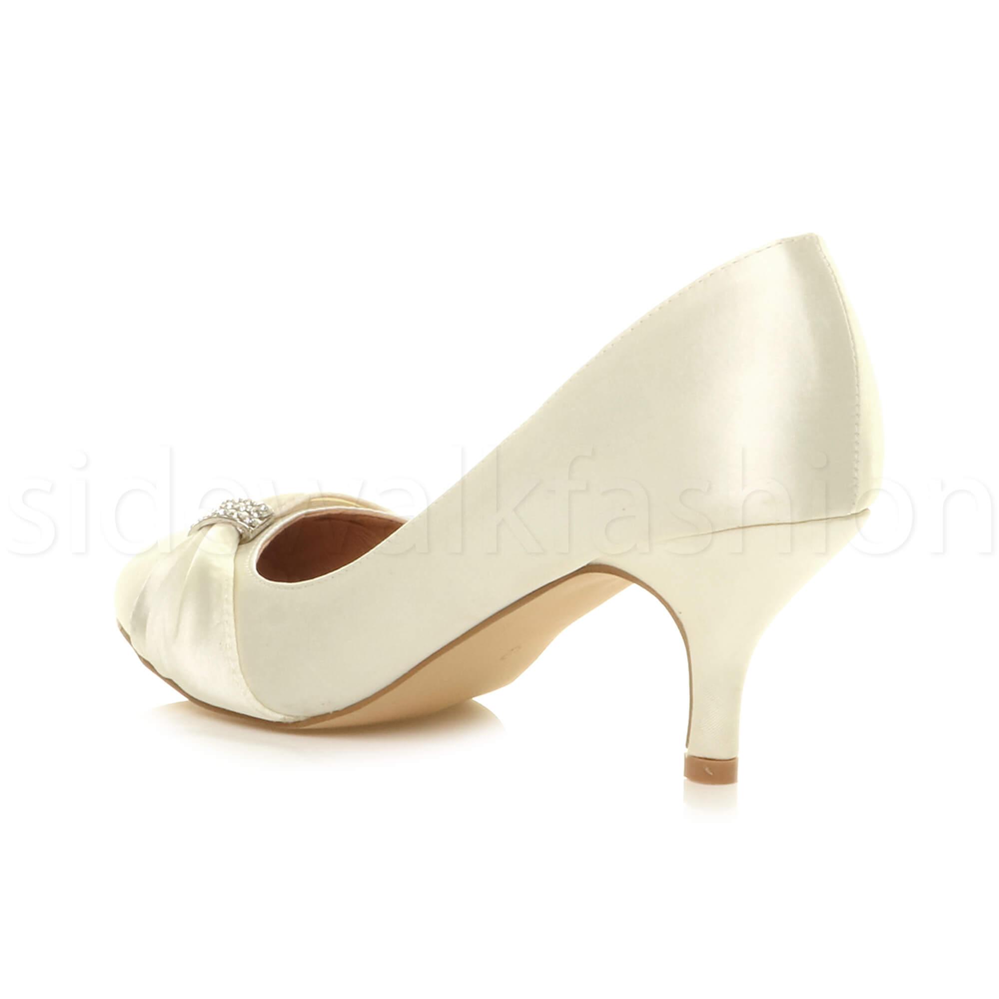 Womens-ladies-low-mid-heel-diamante-party-smart-evening-court-shoes-size thumbnail 37
