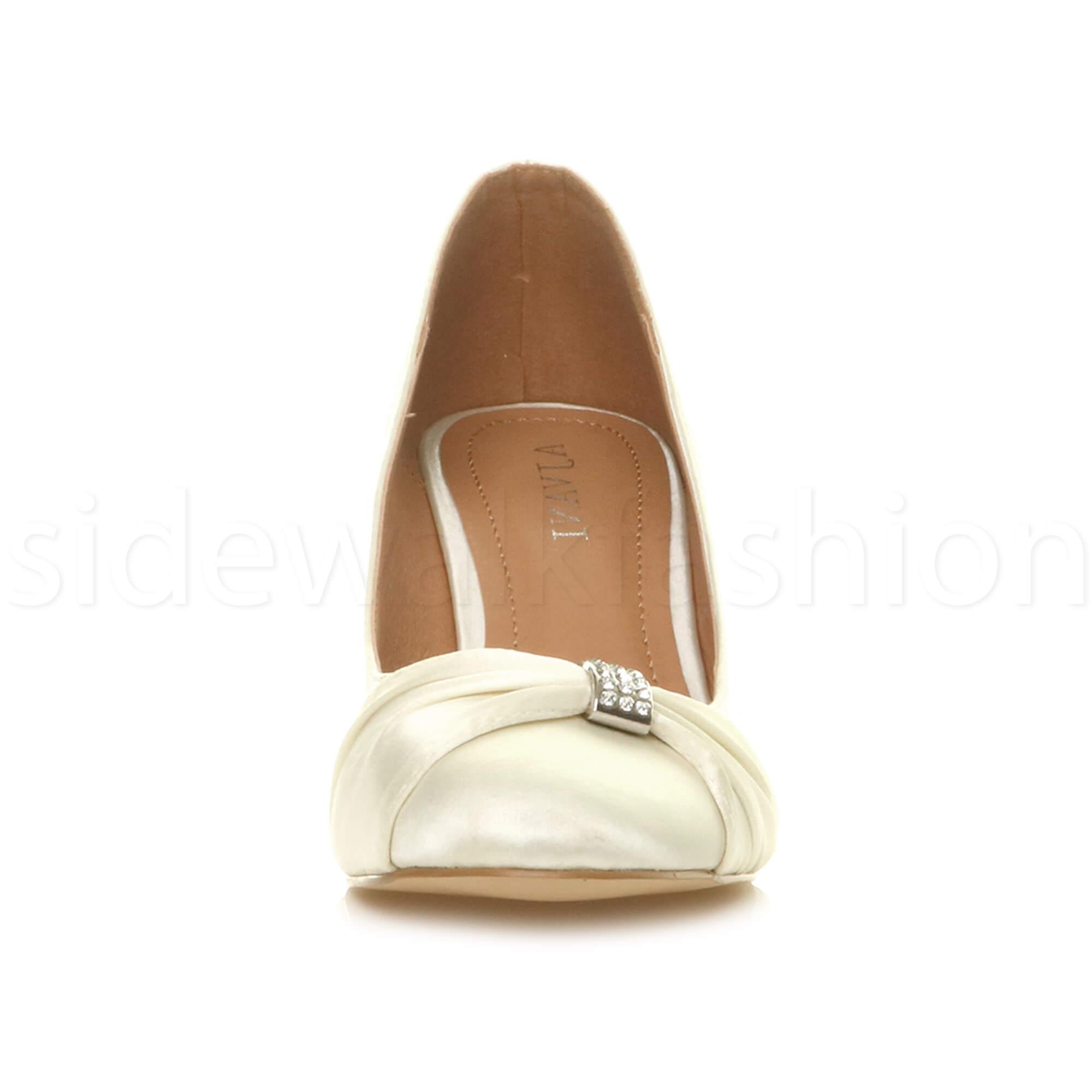Womens-ladies-low-mid-heel-diamante-party-smart-evening-court-shoes-size thumbnail 39