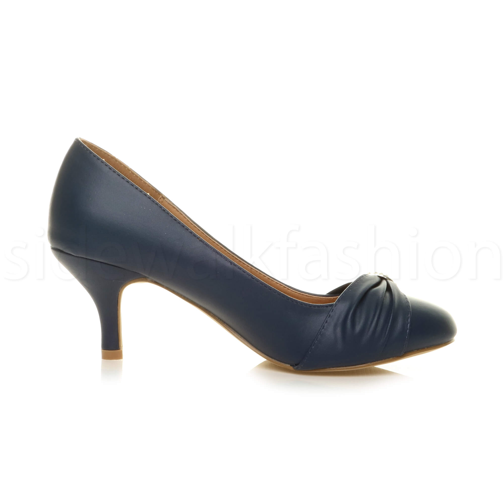 Womens-ladies-low-mid-heel-diamante-party-smart-evening-court-shoes-size thumbnail 44