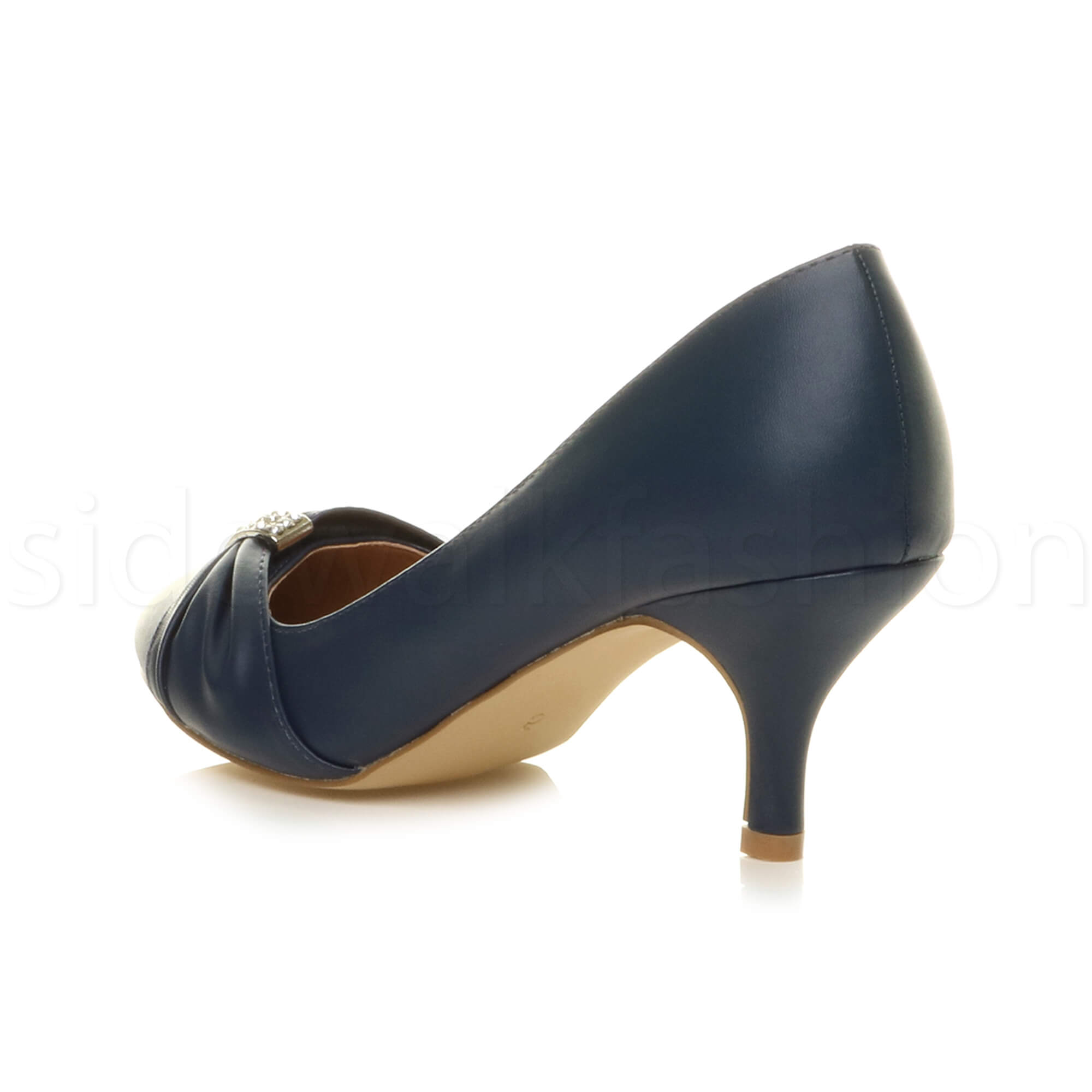 Womens-ladies-low-mid-heel-diamante-party-smart-evening-court-shoes-size thumbnail 45