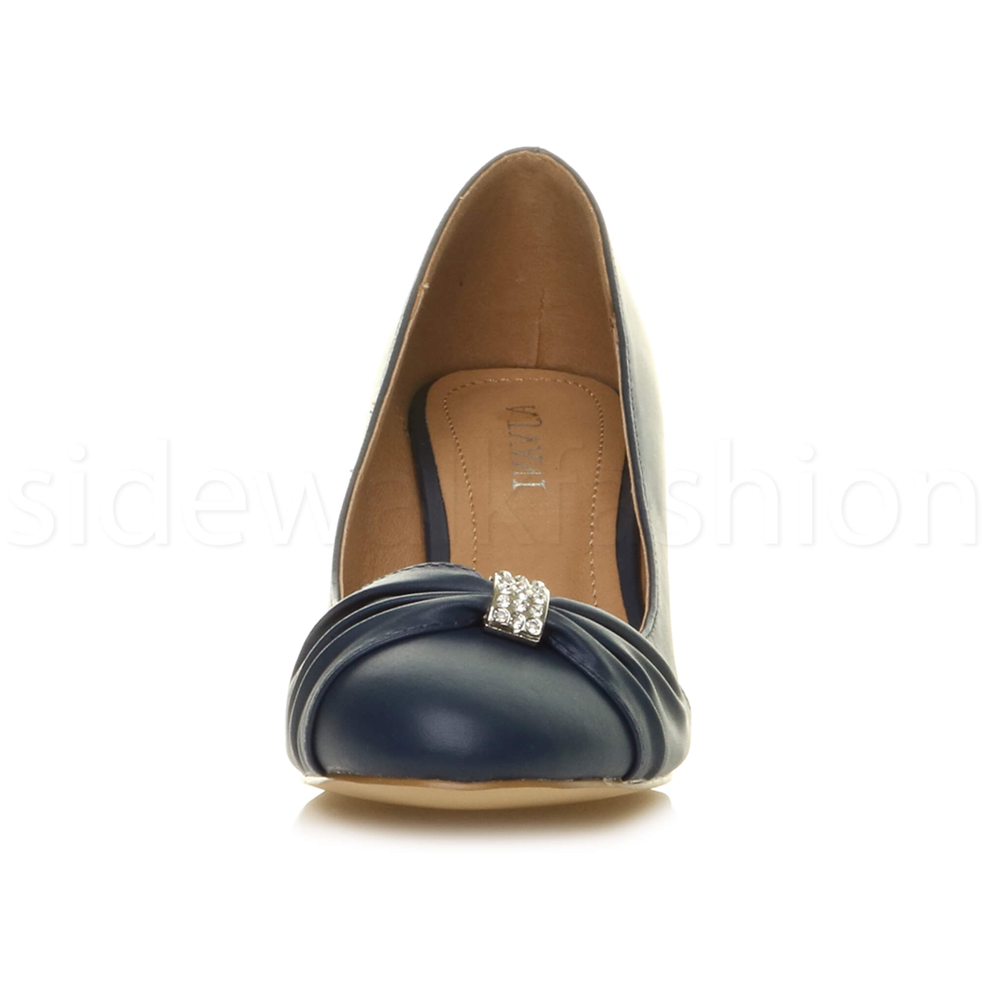 Womens-ladies-low-mid-heel-diamante-party-smart-evening-court-shoes-size thumbnail 47