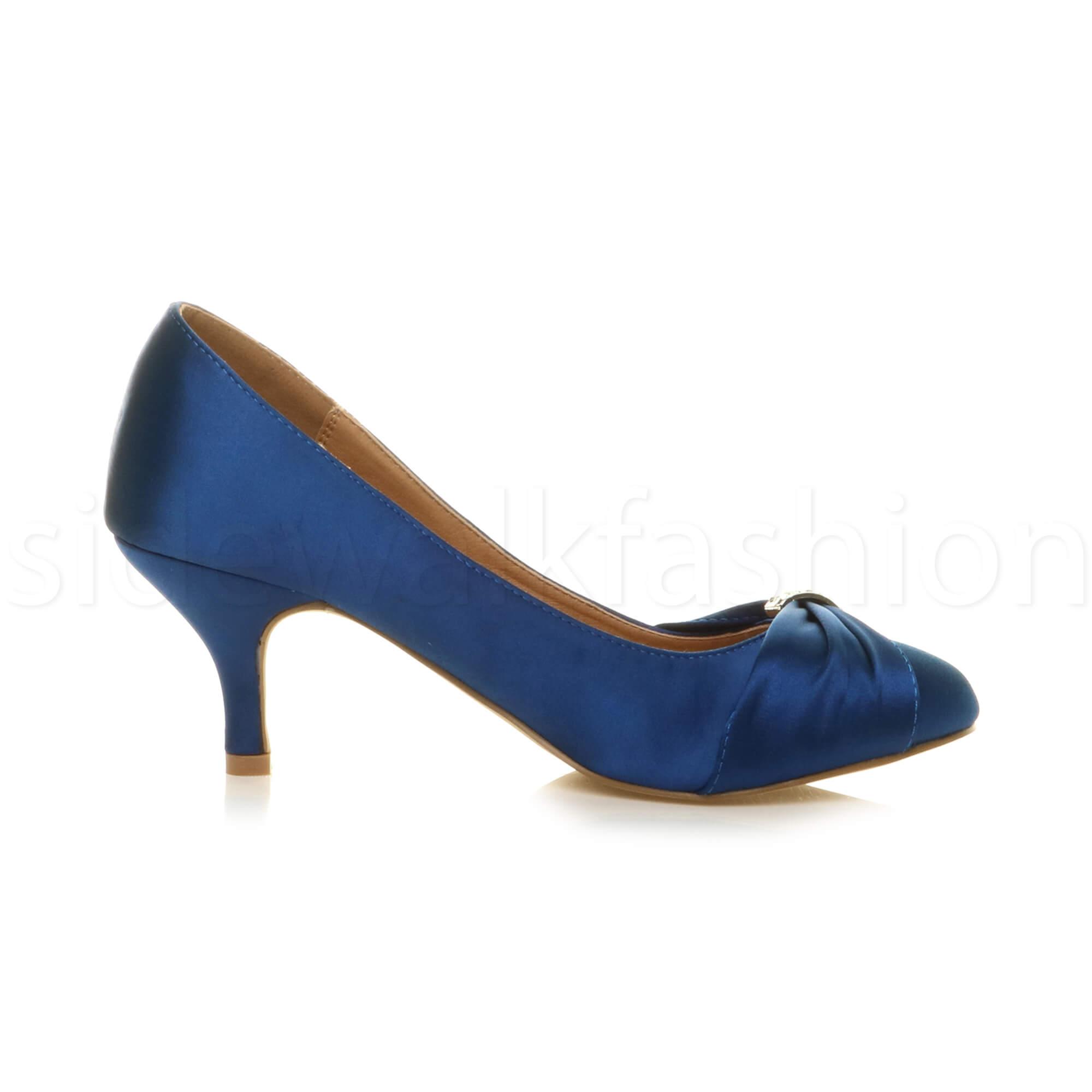 Womens-ladies-low-mid-heel-diamante-party-smart-evening-court-shoes-size thumbnail 52