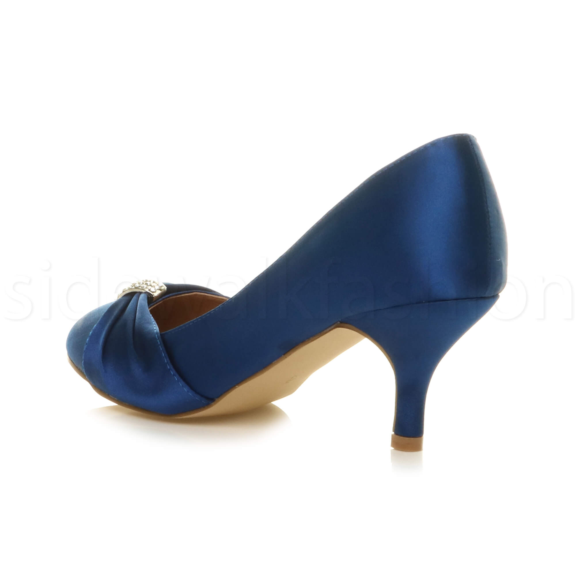 Womens-ladies-low-mid-heel-diamante-party-smart-evening-court-shoes-size thumbnail 53