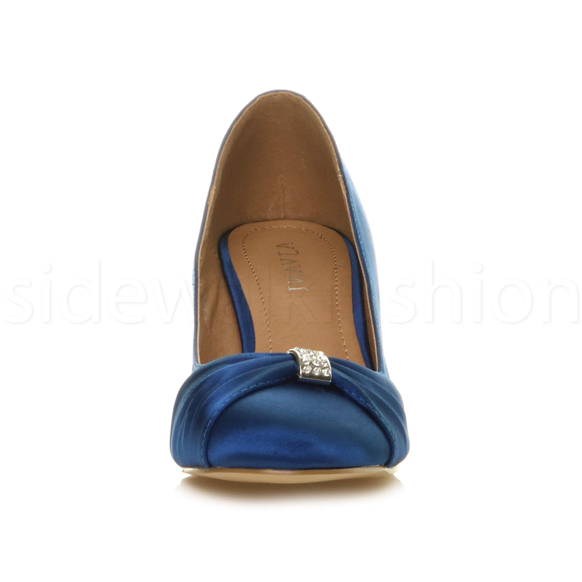 Womens-ladies-low-mid-heel-diamante-party-smart-evening-court-shoes-size thumbnail 55