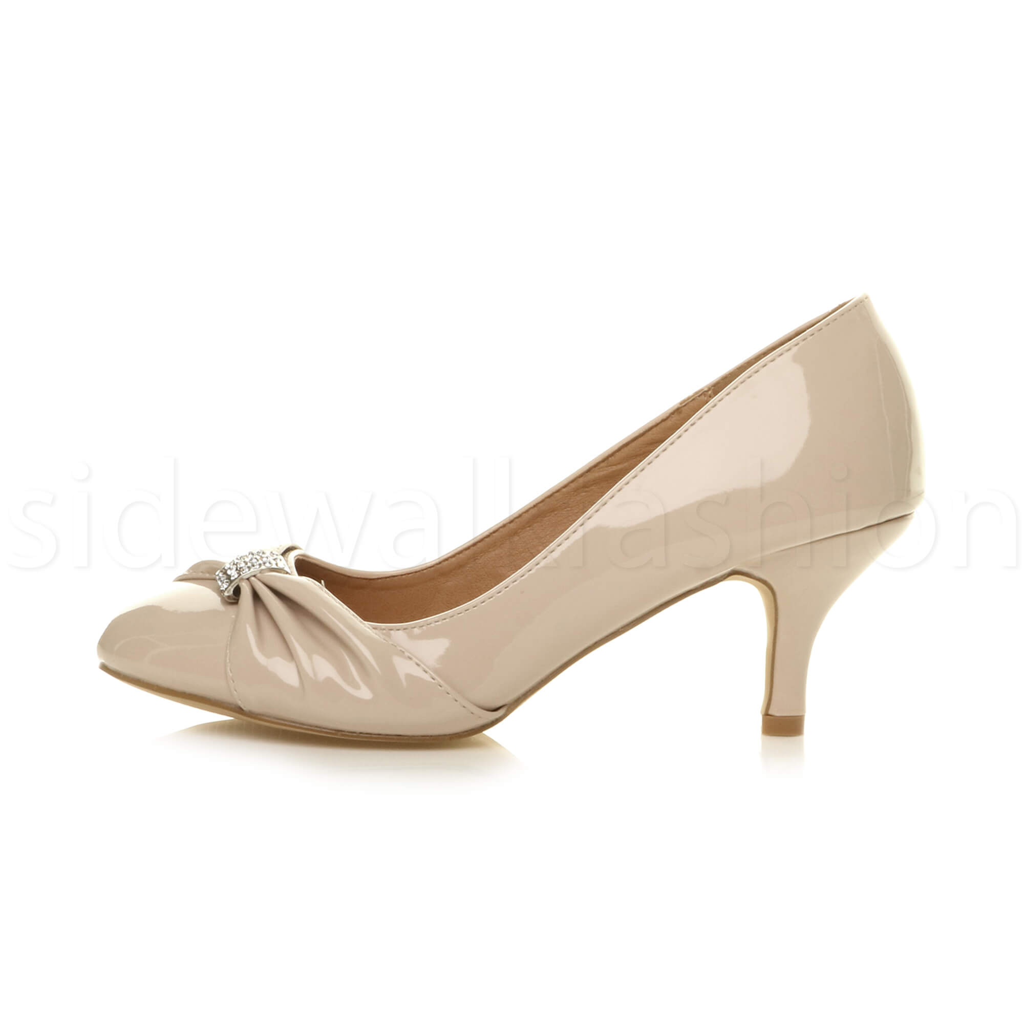 Womens-ladies-low-mid-heel-diamante-party-smart-evening-court-shoes-size thumbnail 67