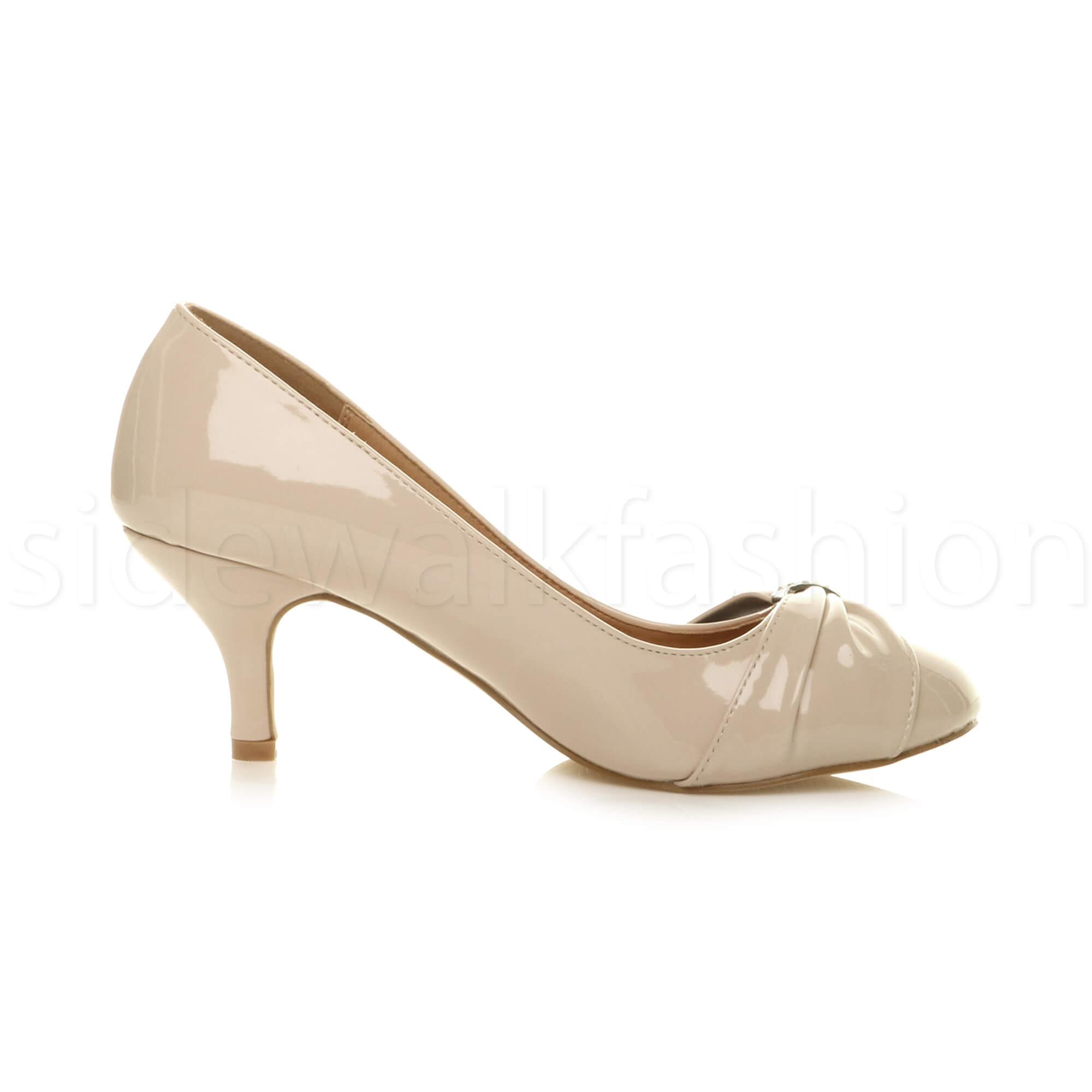 Womens-ladies-low-mid-heel-diamante-party-smart-evening-court-shoes-size thumbnail 68