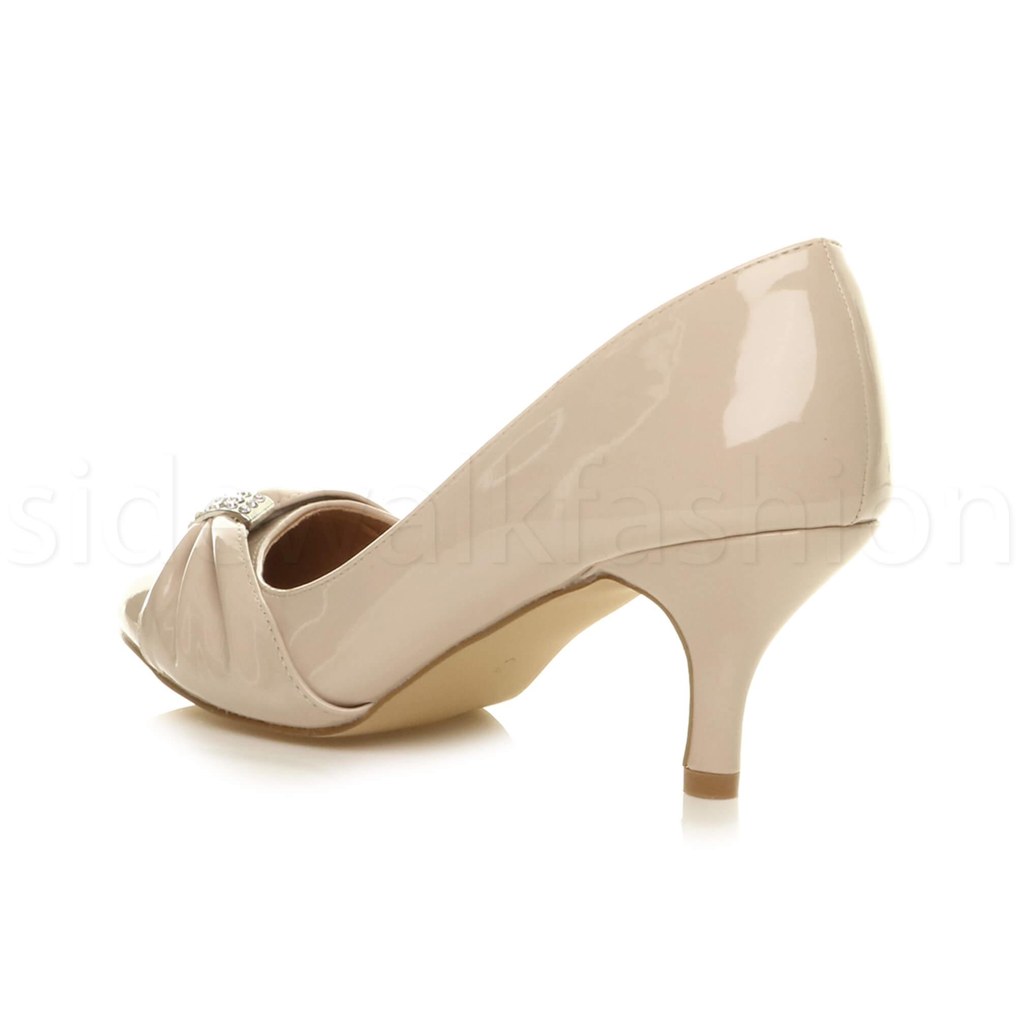 Womens-ladies-low-mid-heel-diamante-party-smart-evening-court-shoes-size thumbnail 69