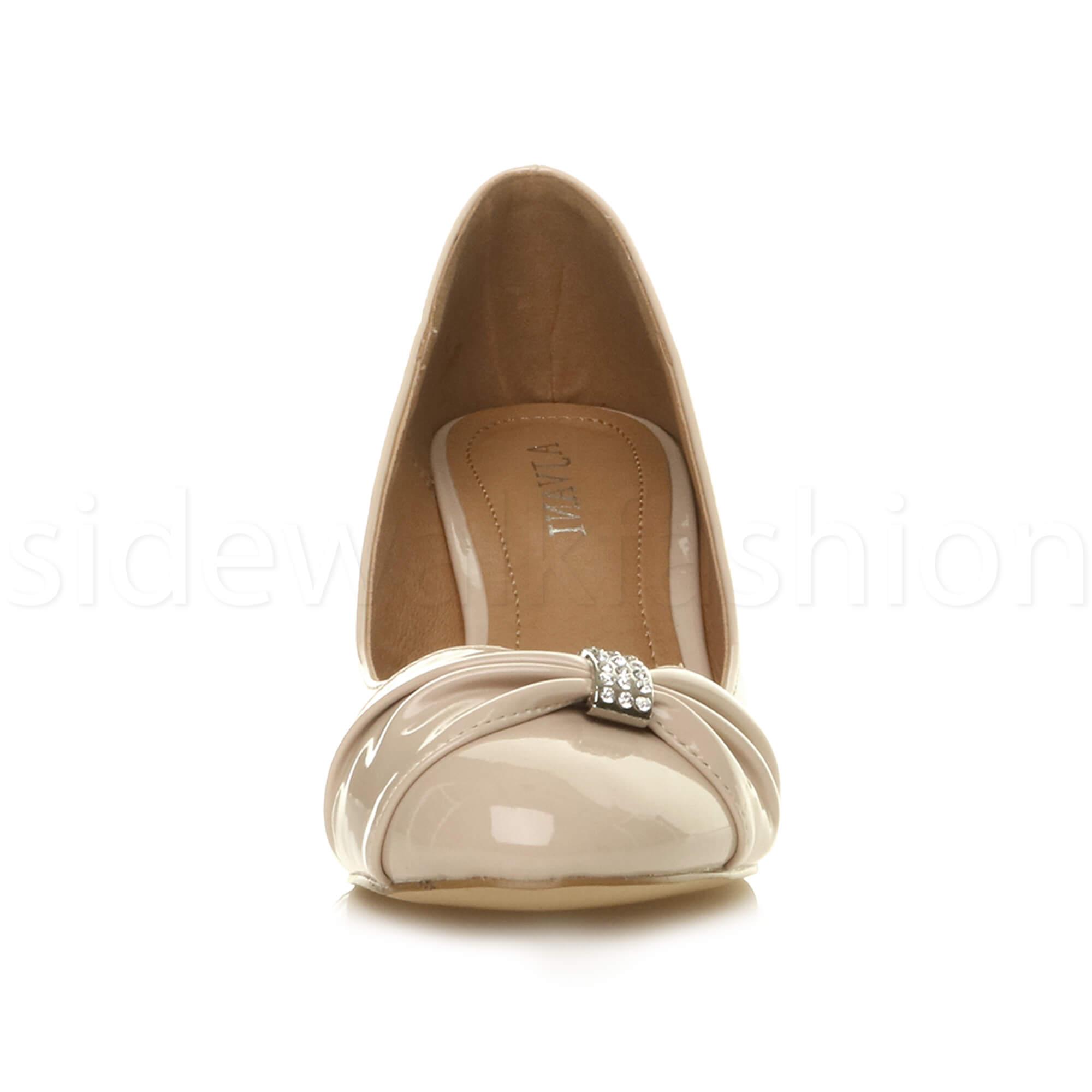 Womens-ladies-low-mid-heel-diamante-party-smart-evening-court-shoes-size thumbnail 71