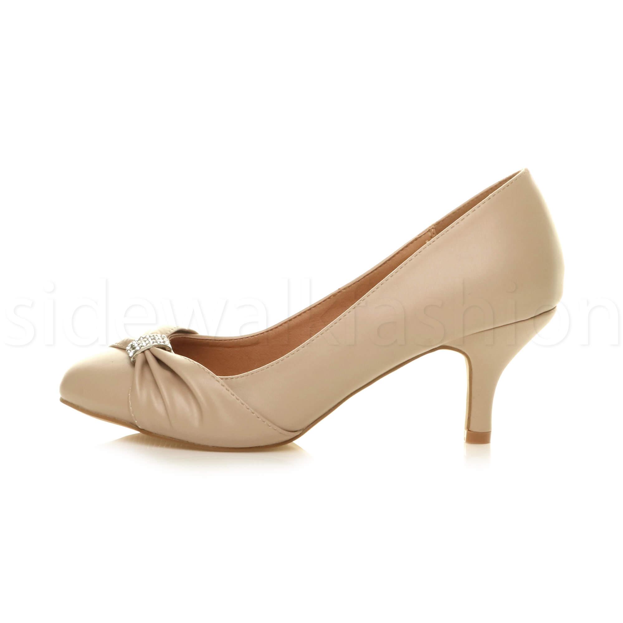 Womens-ladies-low-mid-heel-diamante-party-smart-evening-court-shoes-size thumbnail 59
