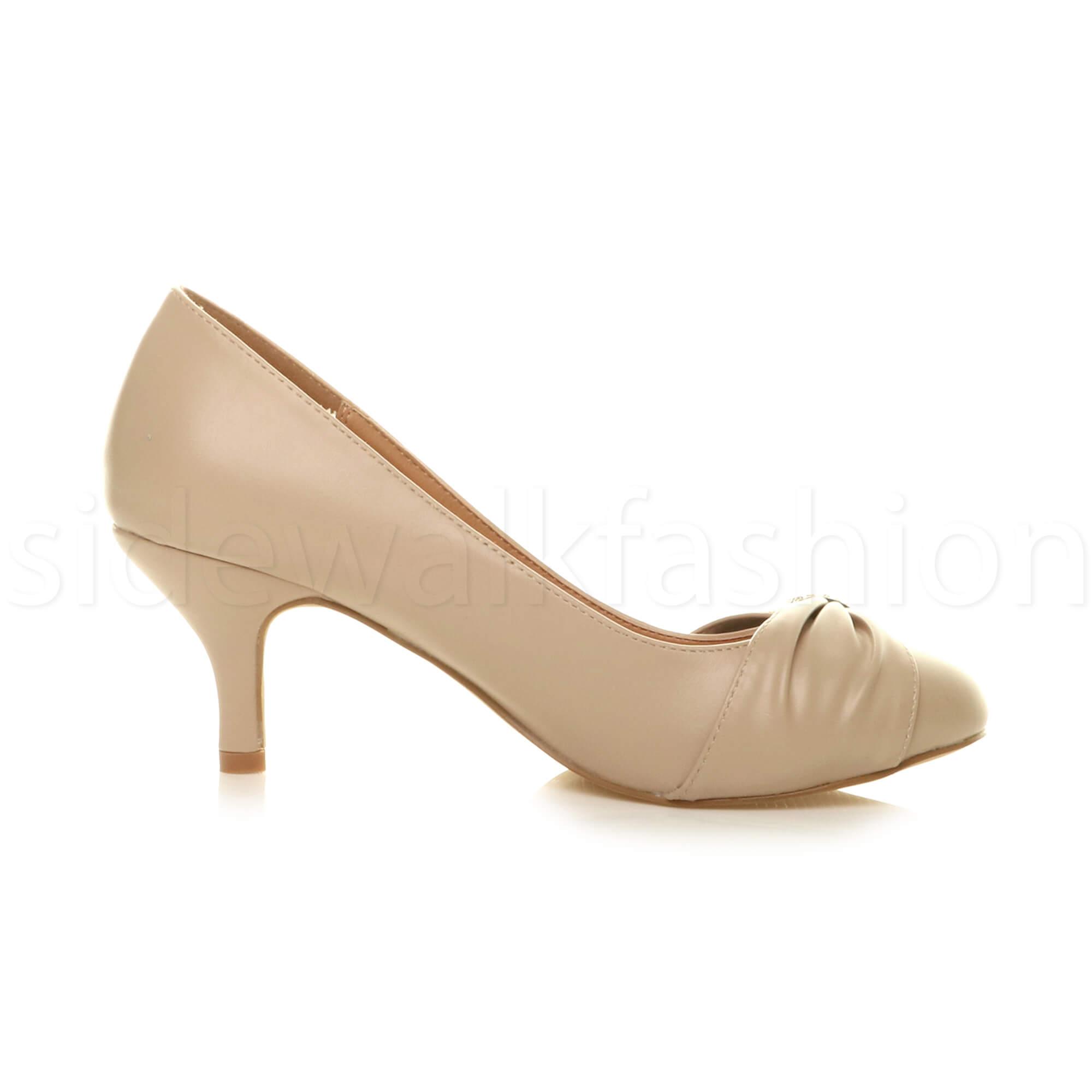 Womens-ladies-low-mid-heel-diamante-party-smart-evening-court-shoes-size thumbnail 60