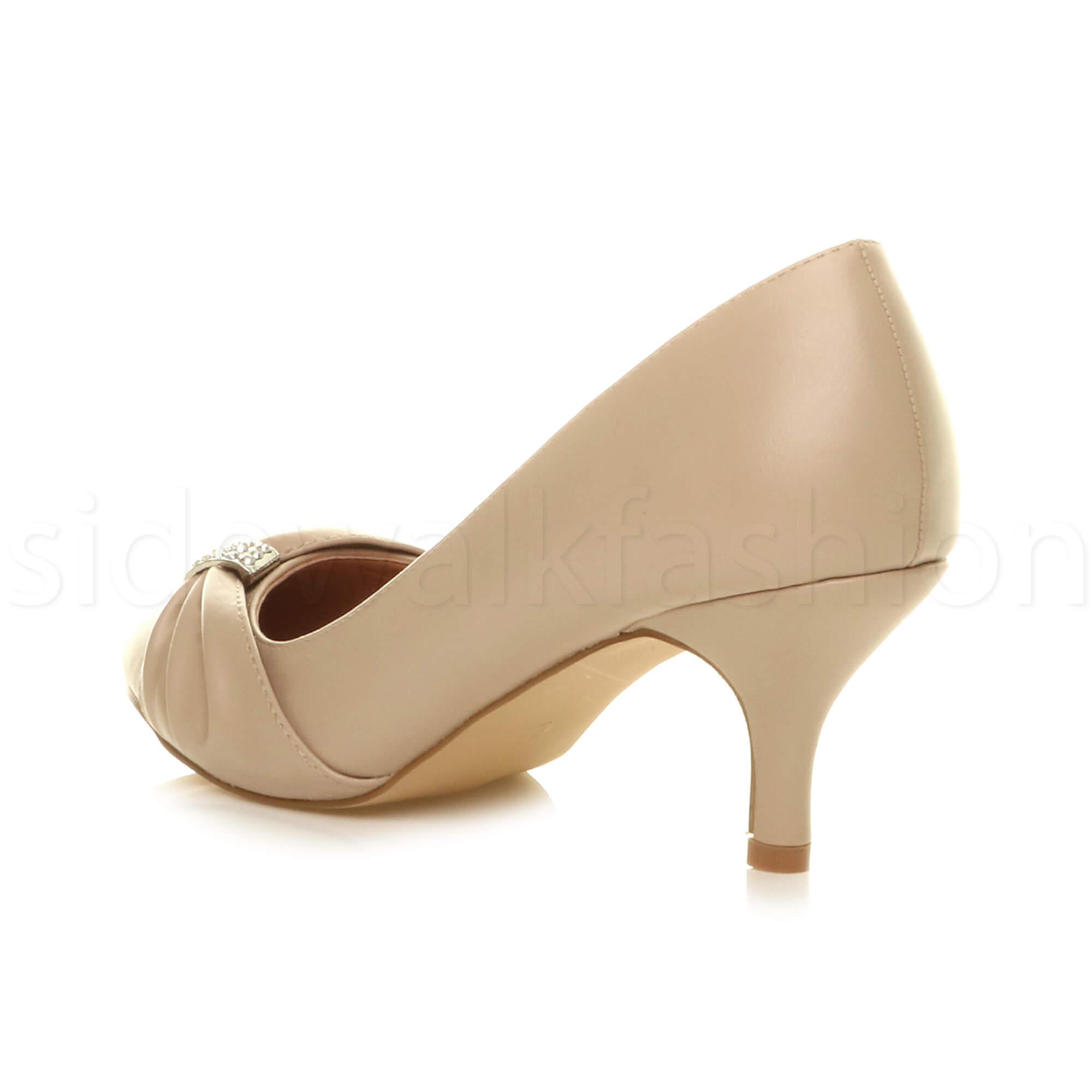 Womens-ladies-low-mid-heel-diamante-party-smart-evening-court-shoes-size thumbnail 61