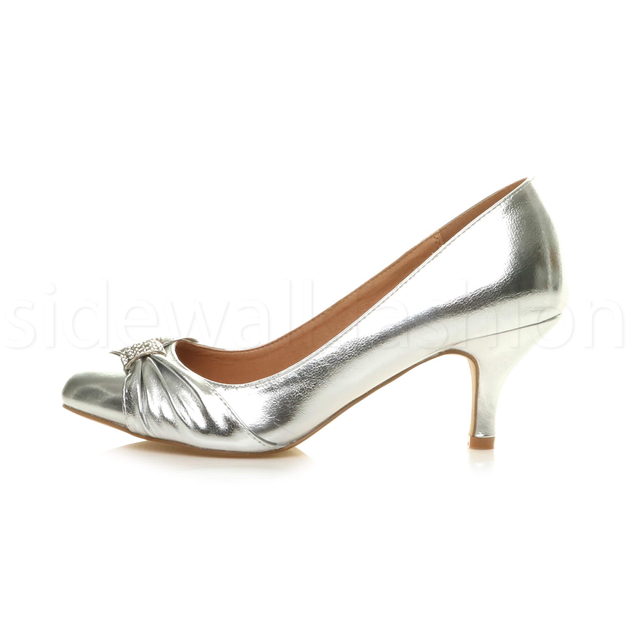 Womens-ladies-low-mid-heel-diamante-party-smart-evening-court-shoes-size thumbnail 83