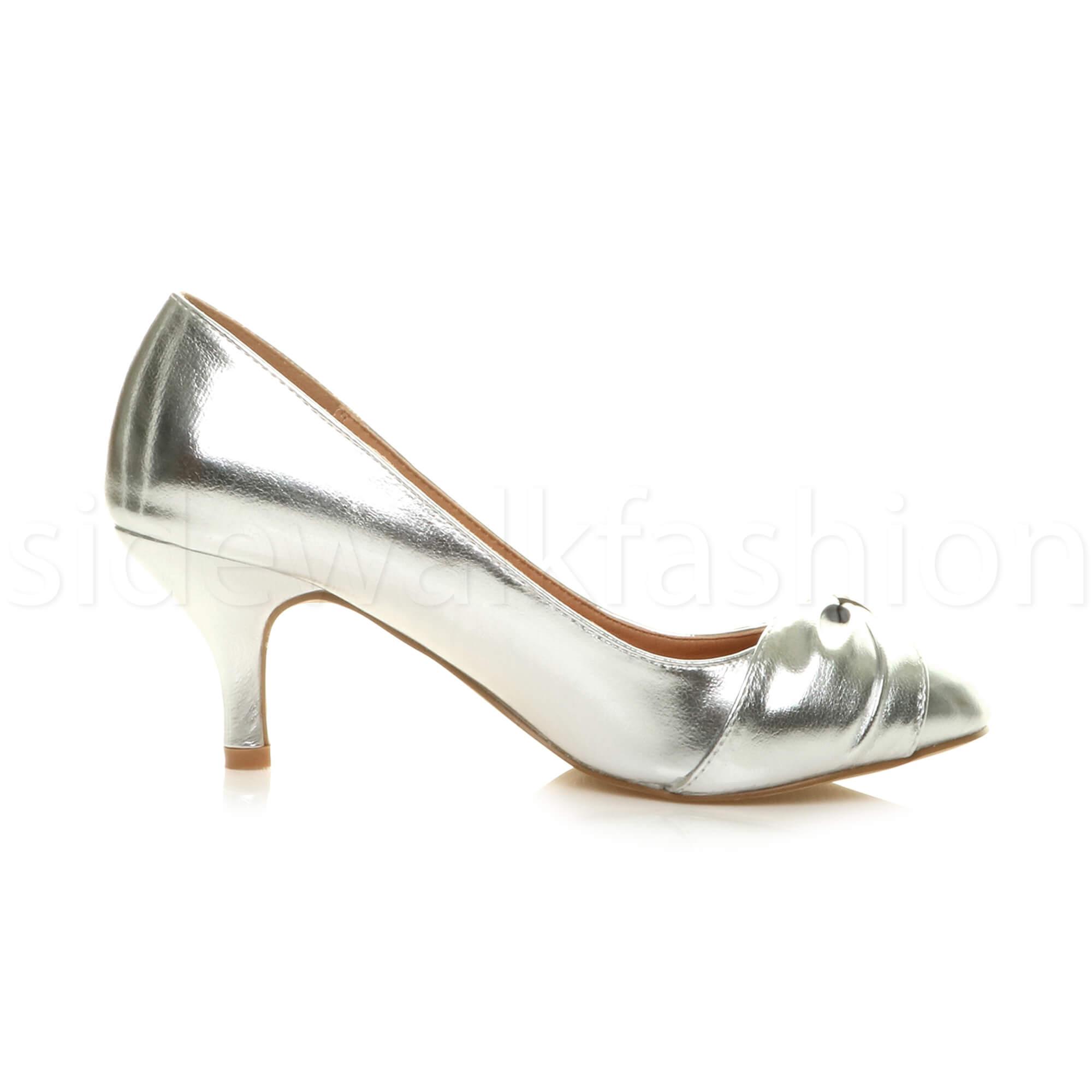 Womens-ladies-low-mid-heel-diamante-party-smart-evening-court-shoes-size thumbnail 84