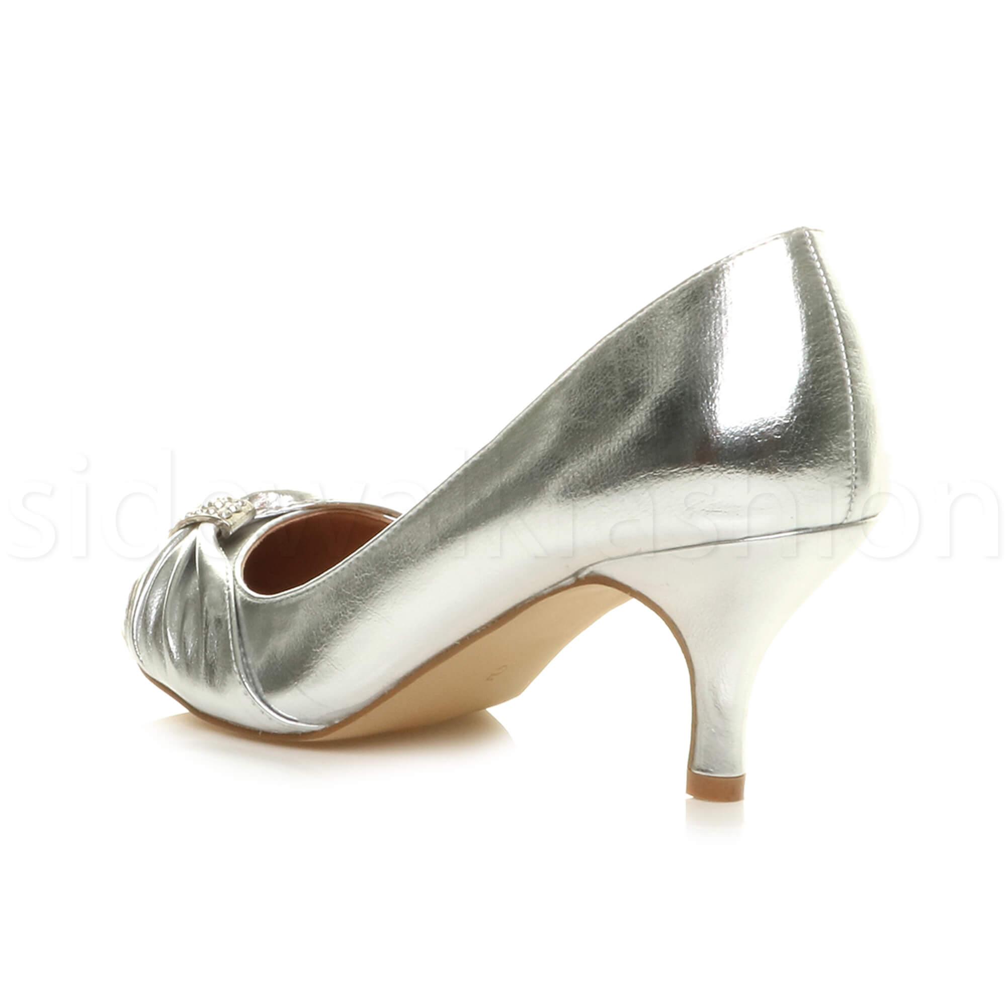 Womens-ladies-low-mid-heel-diamante-party-smart-evening-court-shoes-size thumbnail 85
