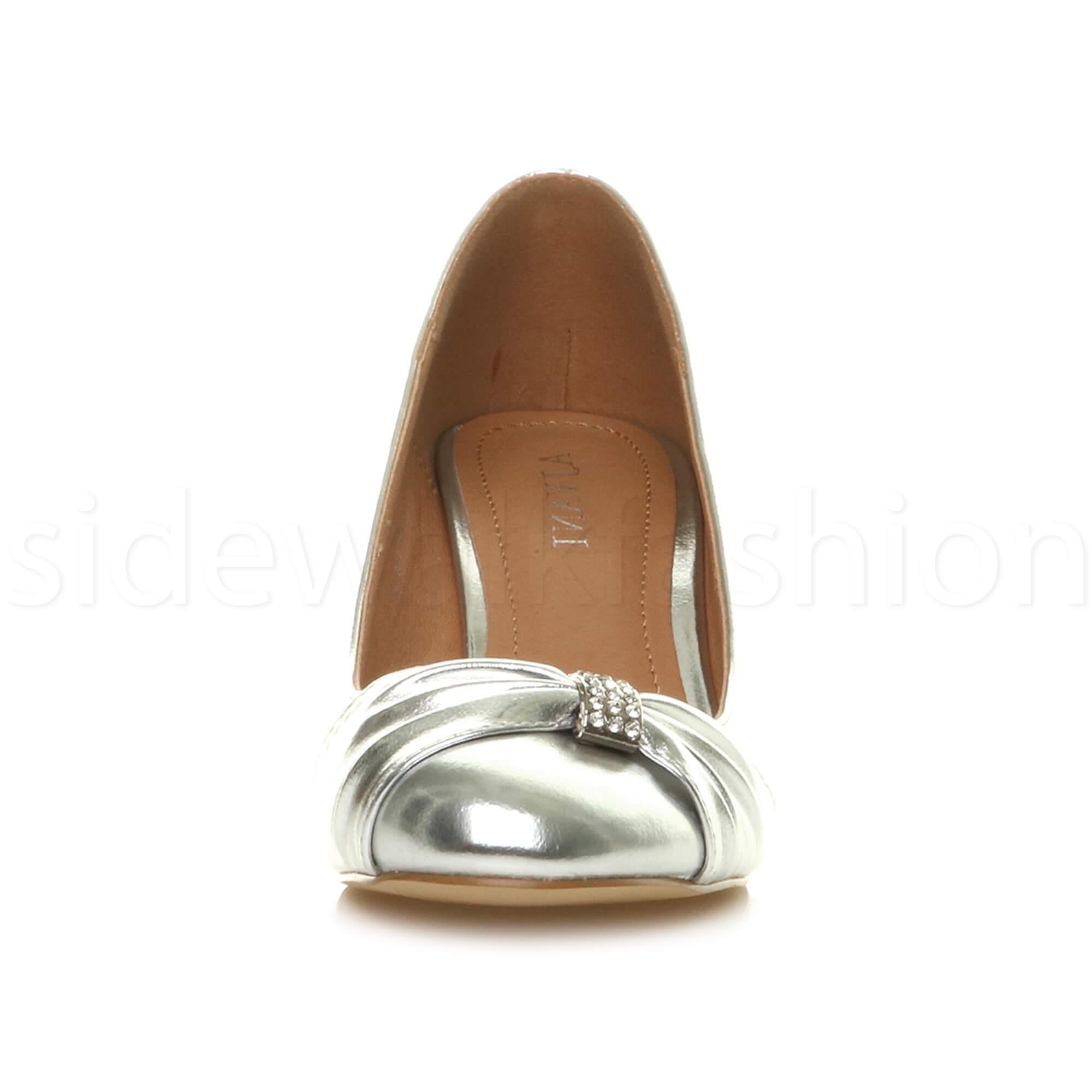 Womens-ladies-low-mid-heel-diamante-party-smart-evening-court-shoes-size thumbnail 87