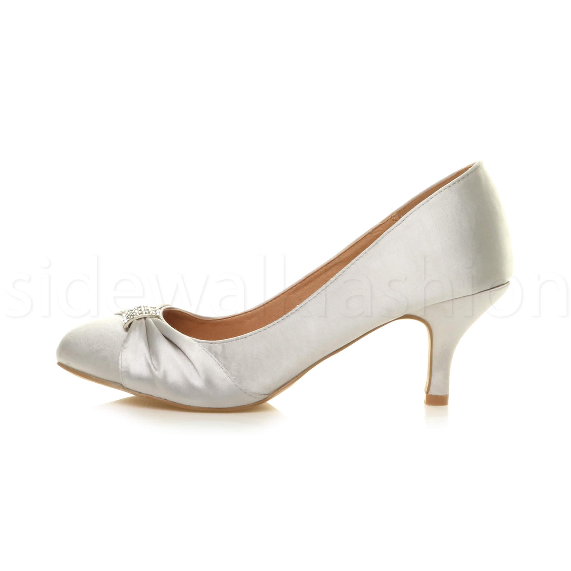 Womens-ladies-low-mid-heel-diamante-party-smart-evening-court-shoes-size thumbnail 91