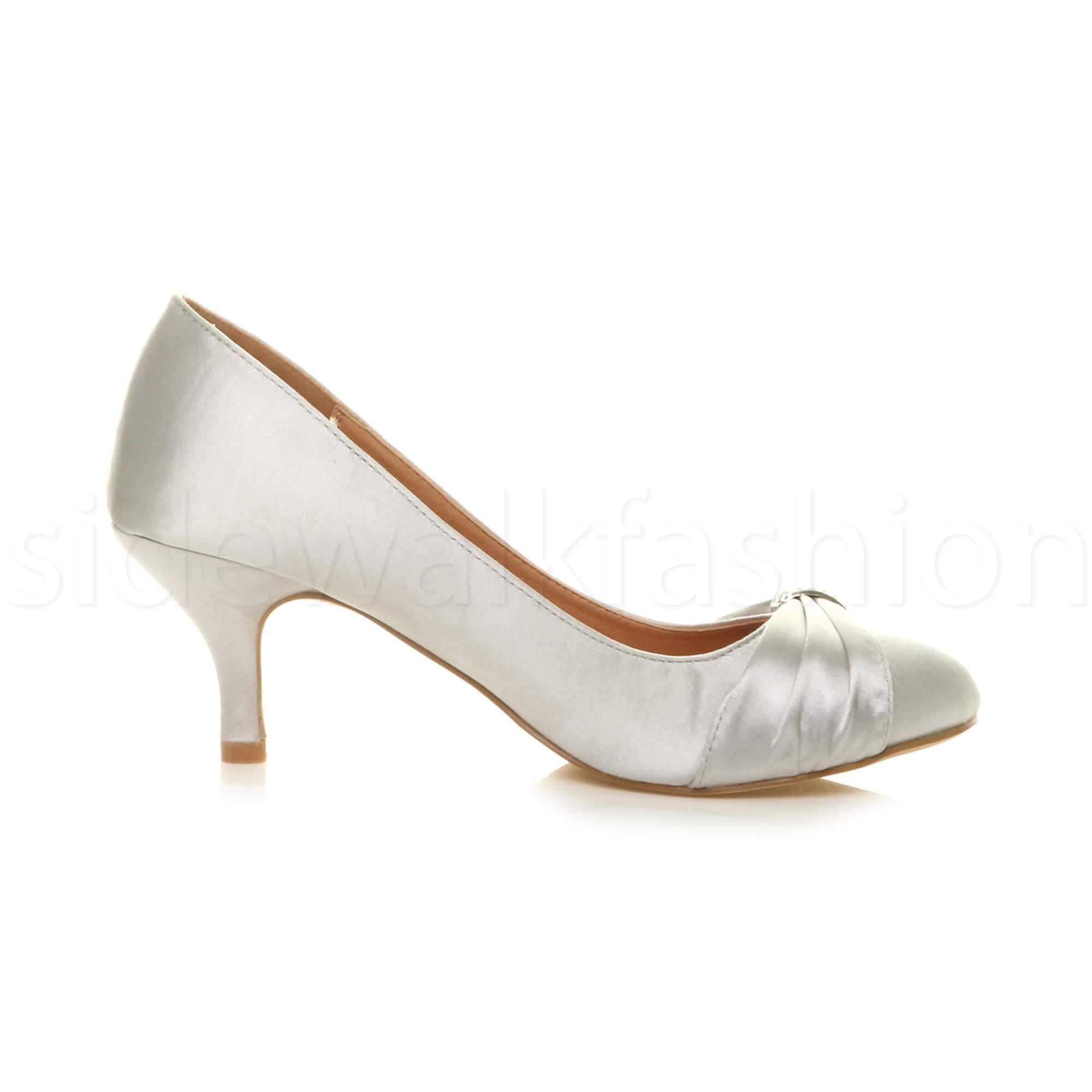 Womens-ladies-low-mid-heel-diamante-party-smart-evening-court-shoes-size thumbnail 92