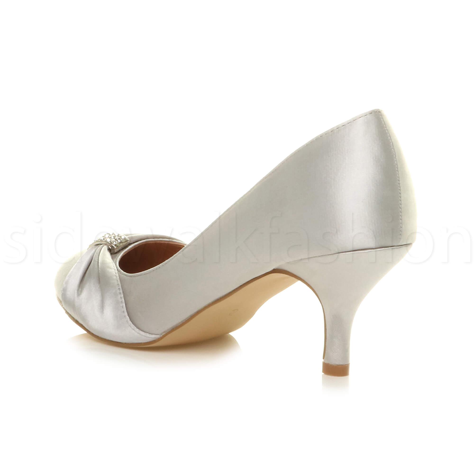 Womens-ladies-low-mid-heel-diamante-party-smart-evening-court-shoes-size thumbnail 93