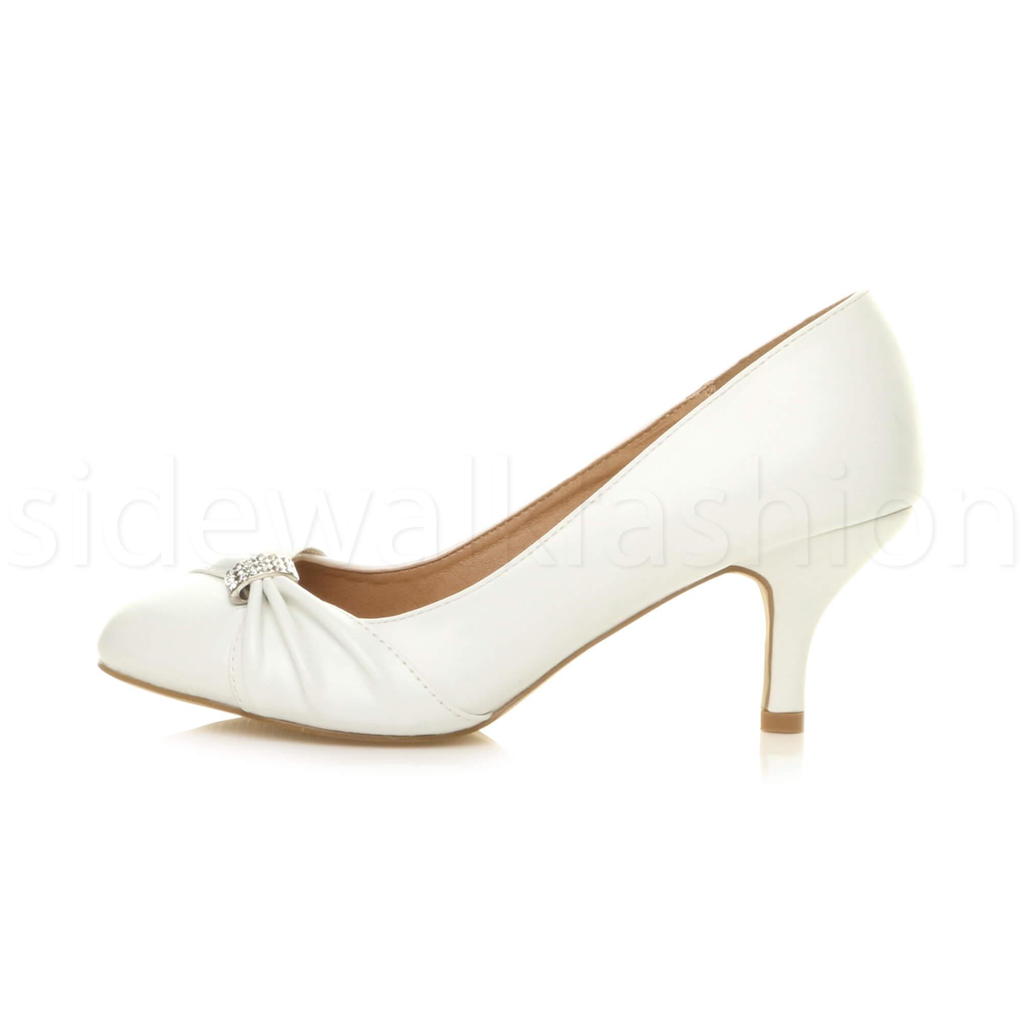 Womens-ladies-low-mid-heel-diamante-party-smart-evening-court-shoes-size thumbnail 99