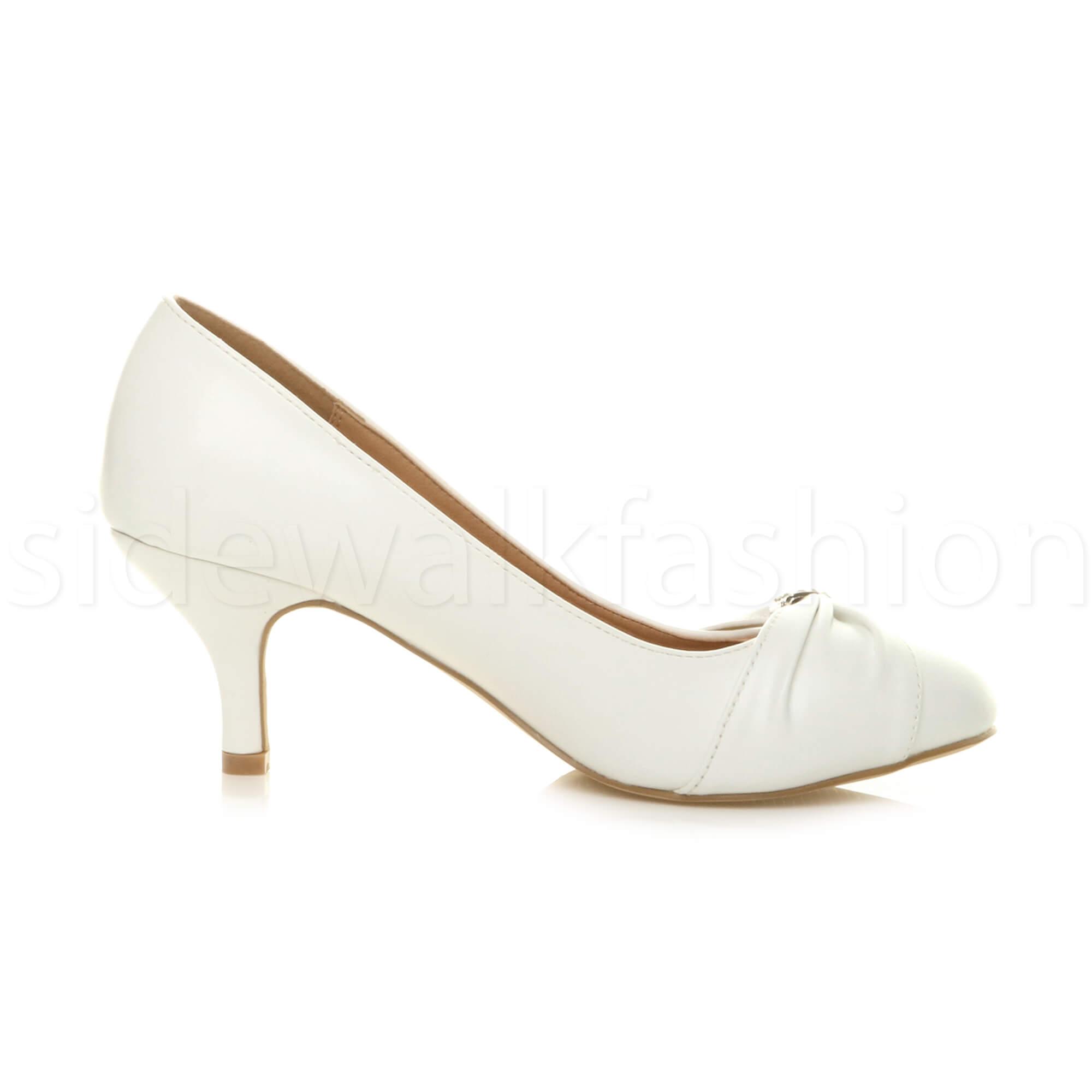 Womens-ladies-low-mid-heel-diamante-party-smart-evening-court-shoes-size thumbnail 100
