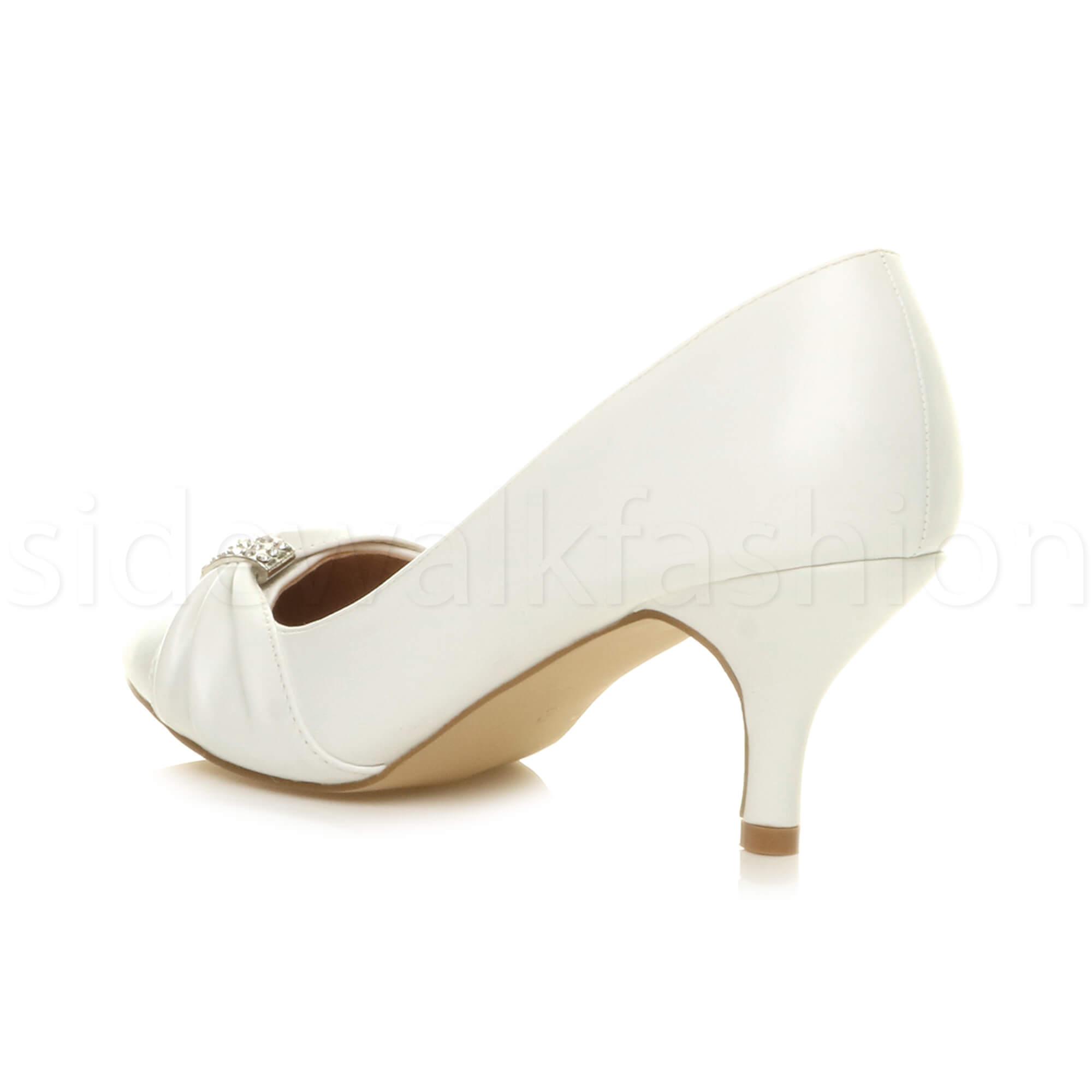 Womens-ladies-low-mid-heel-diamante-party-smart-evening-court-shoes-size thumbnail 101