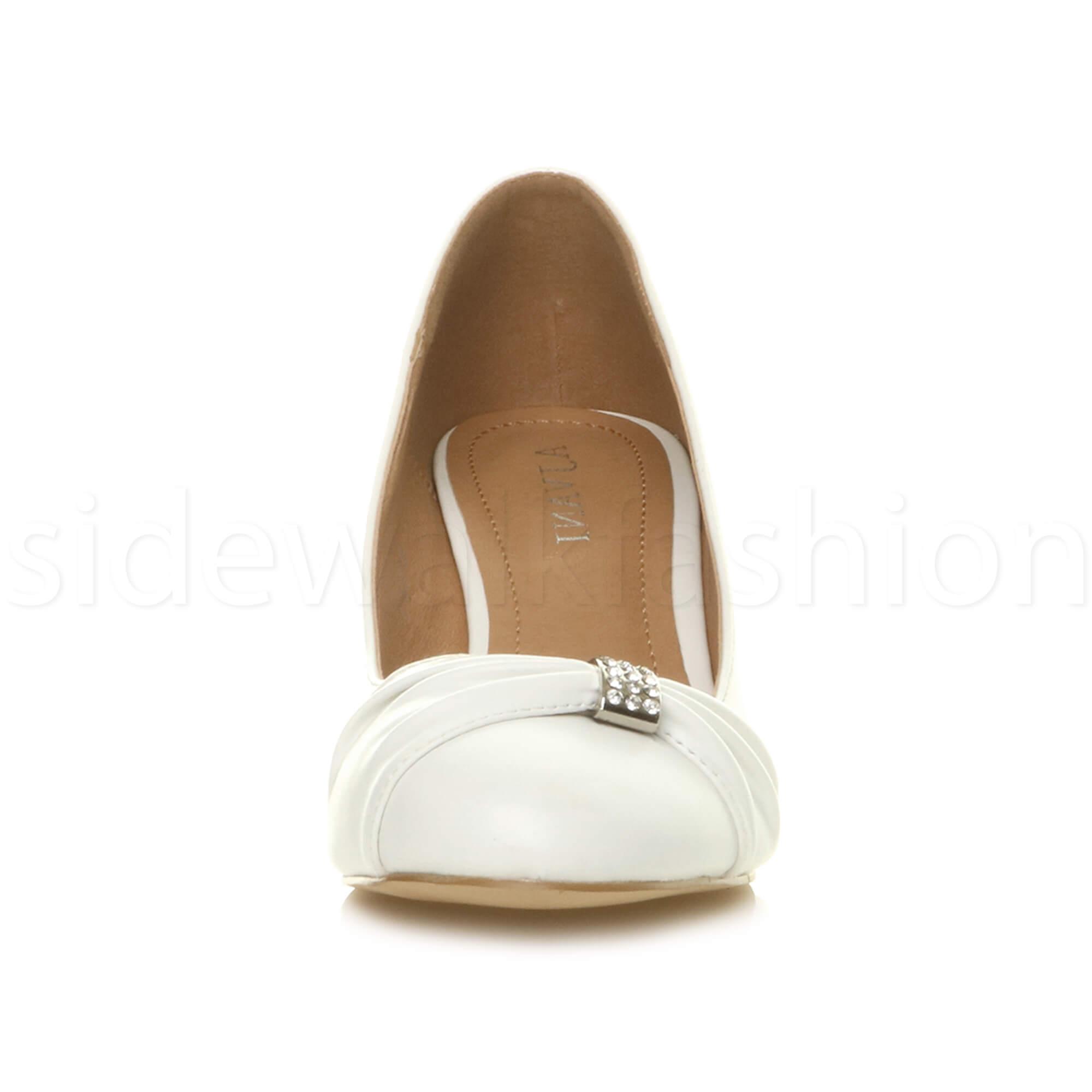 Womens-ladies-low-mid-heel-diamante-party-smart-evening-court-shoes-size thumbnail 103