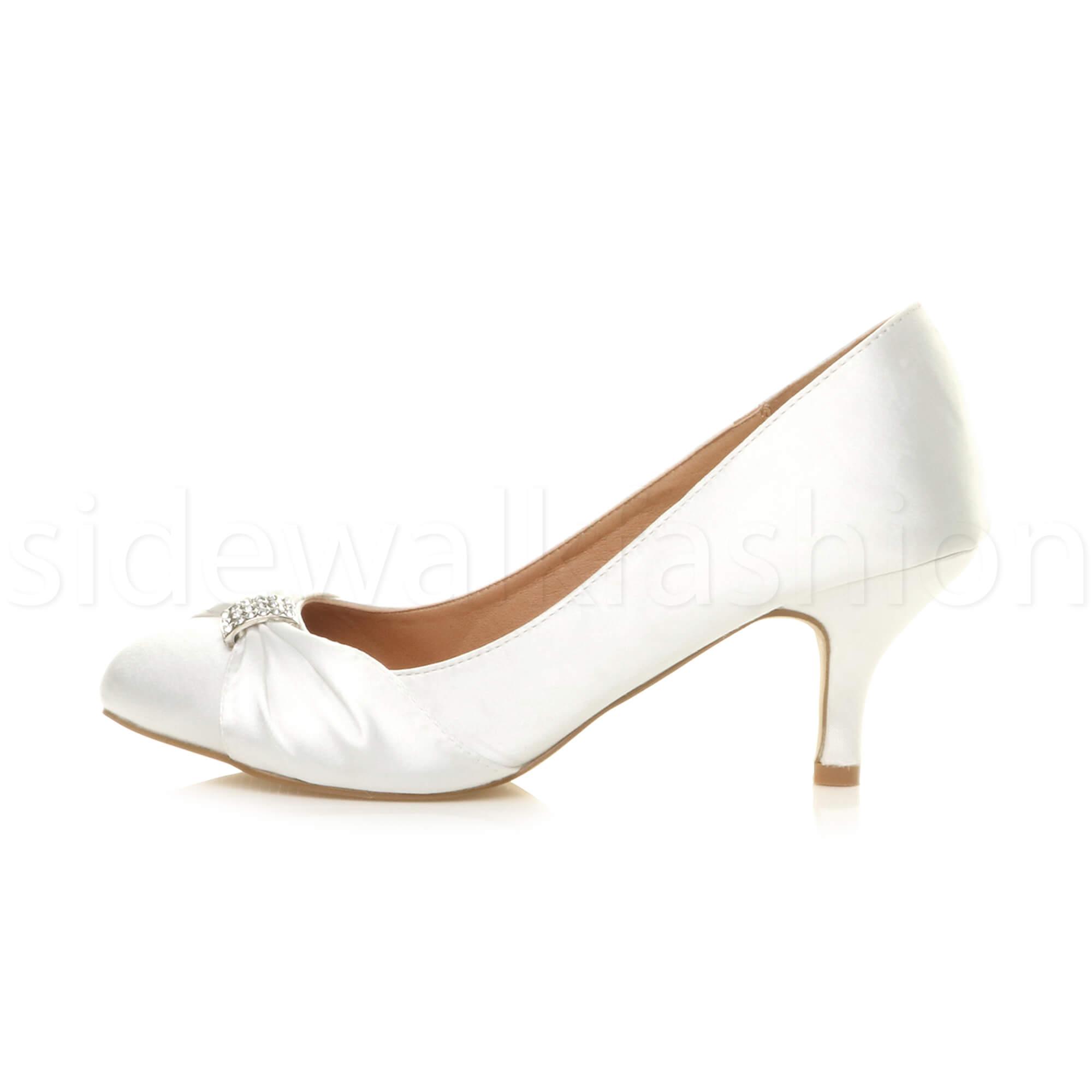 Womens-ladies-low-mid-heel-diamante-party-smart-evening-court-shoes-size thumbnail 107