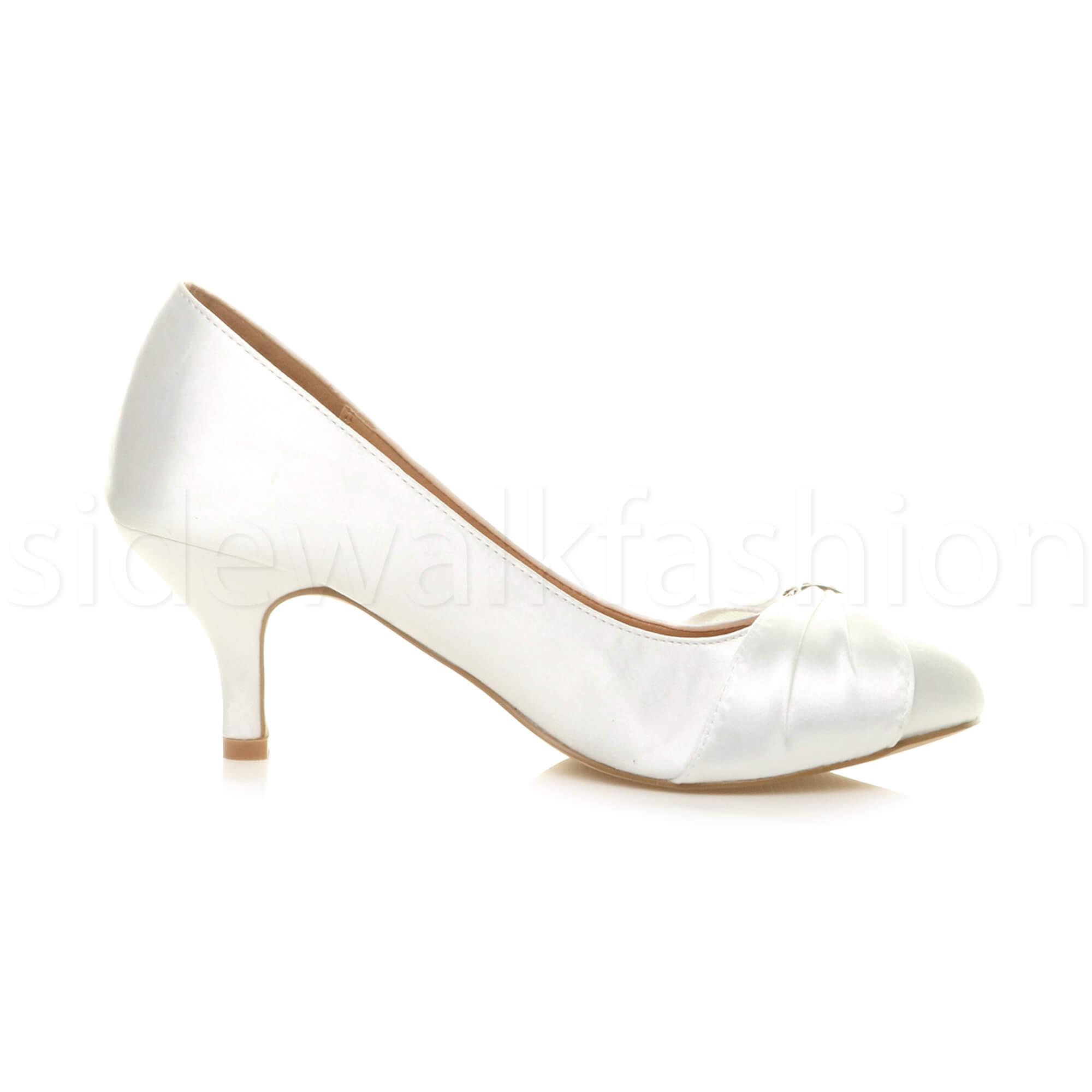 Womens-ladies-low-mid-heel-diamante-party-smart-evening-court-shoes-size thumbnail 108