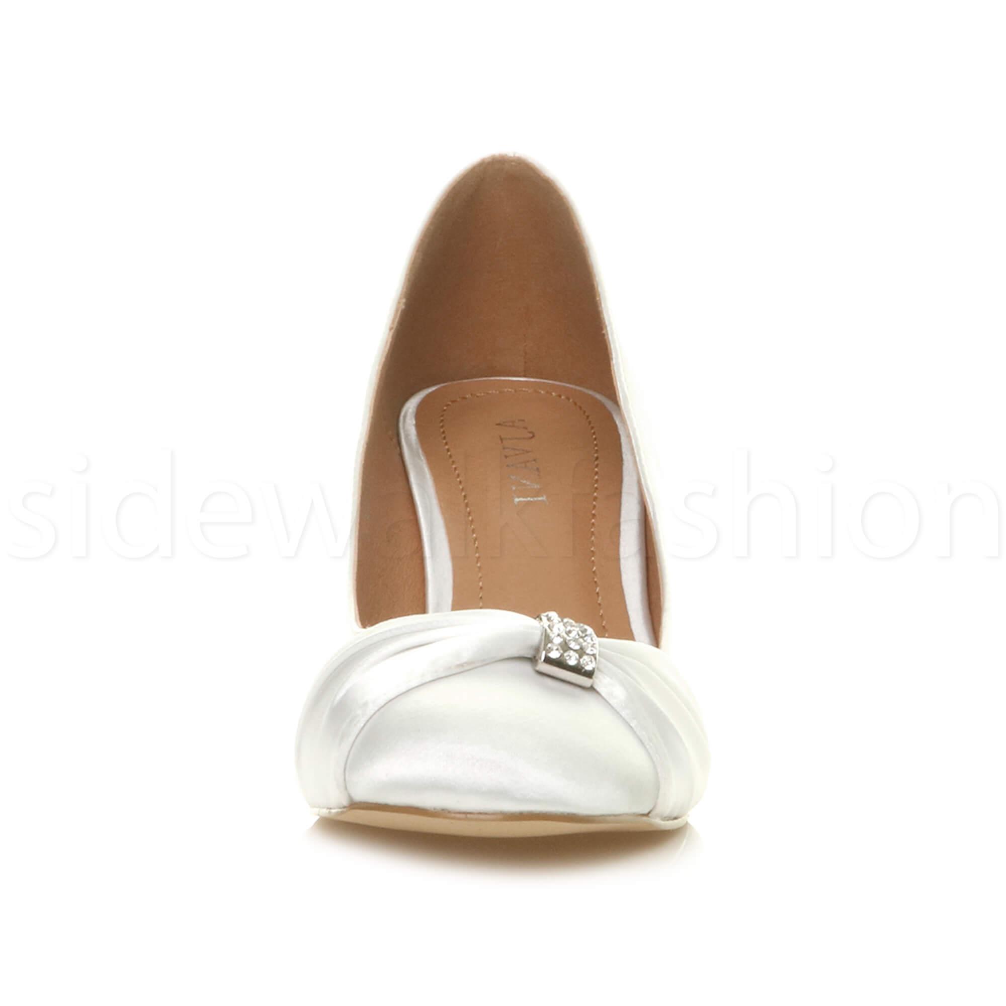 Womens-ladies-low-mid-heel-diamante-party-smart-evening-court-shoes-size thumbnail 111