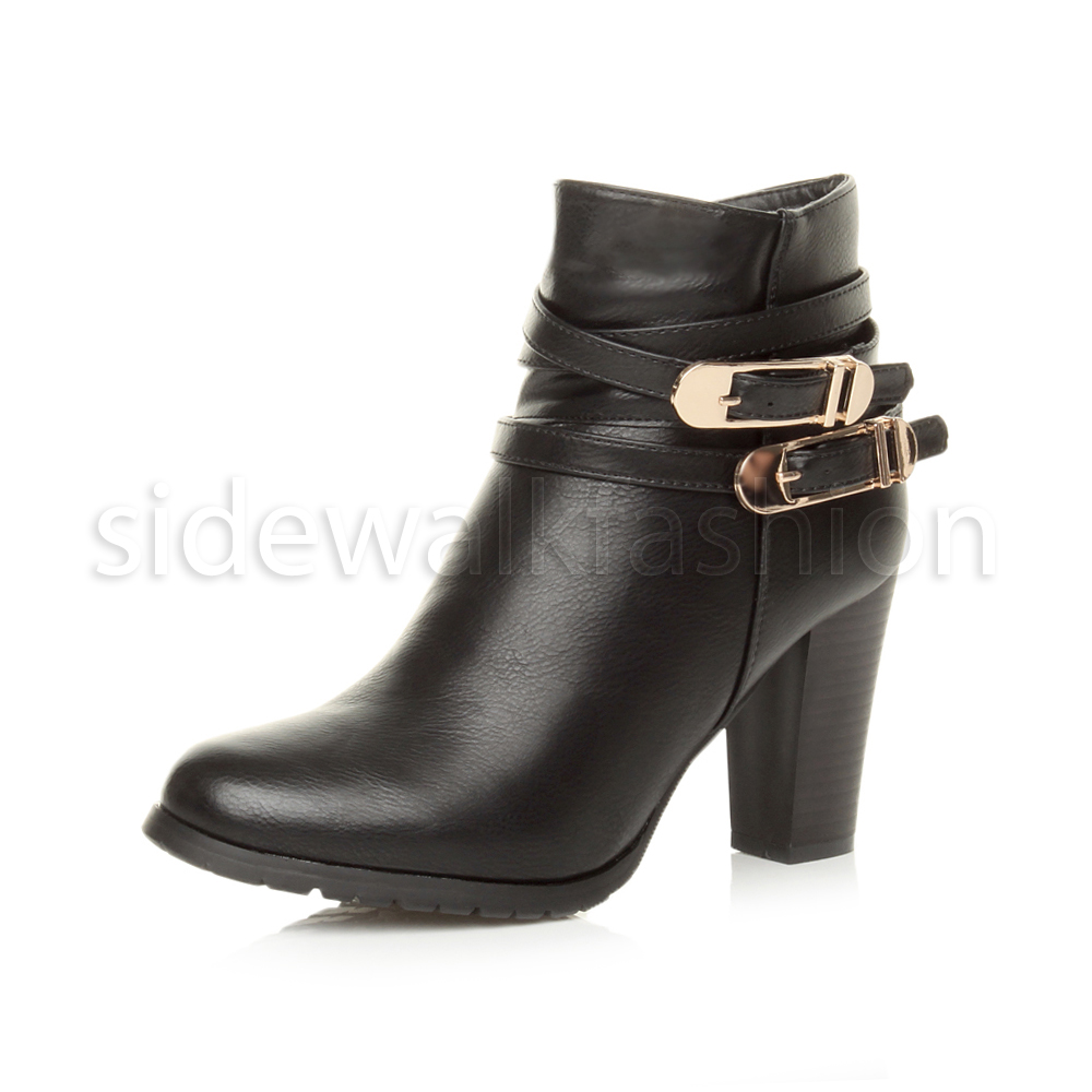 WOMENS LADIES HIGH HEEL BUCKLE STRAP CHELSEA PARTY ANKLE BOOTS CASUAL SHOES SIZE