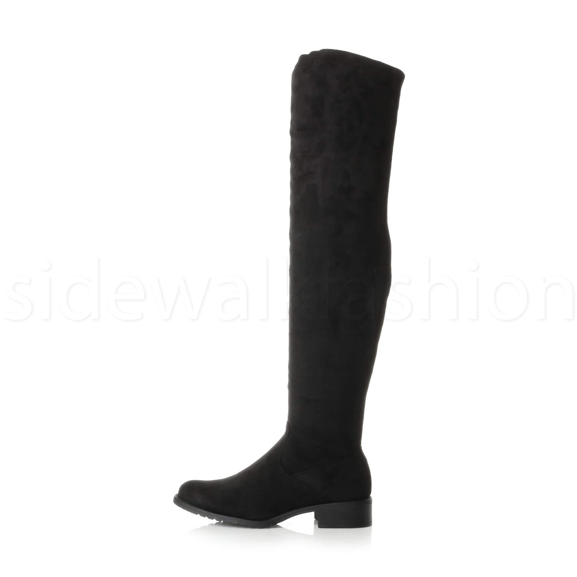 Womens-ladies-low-heel-high-over-the-knee-stretch-riding-boots-size
