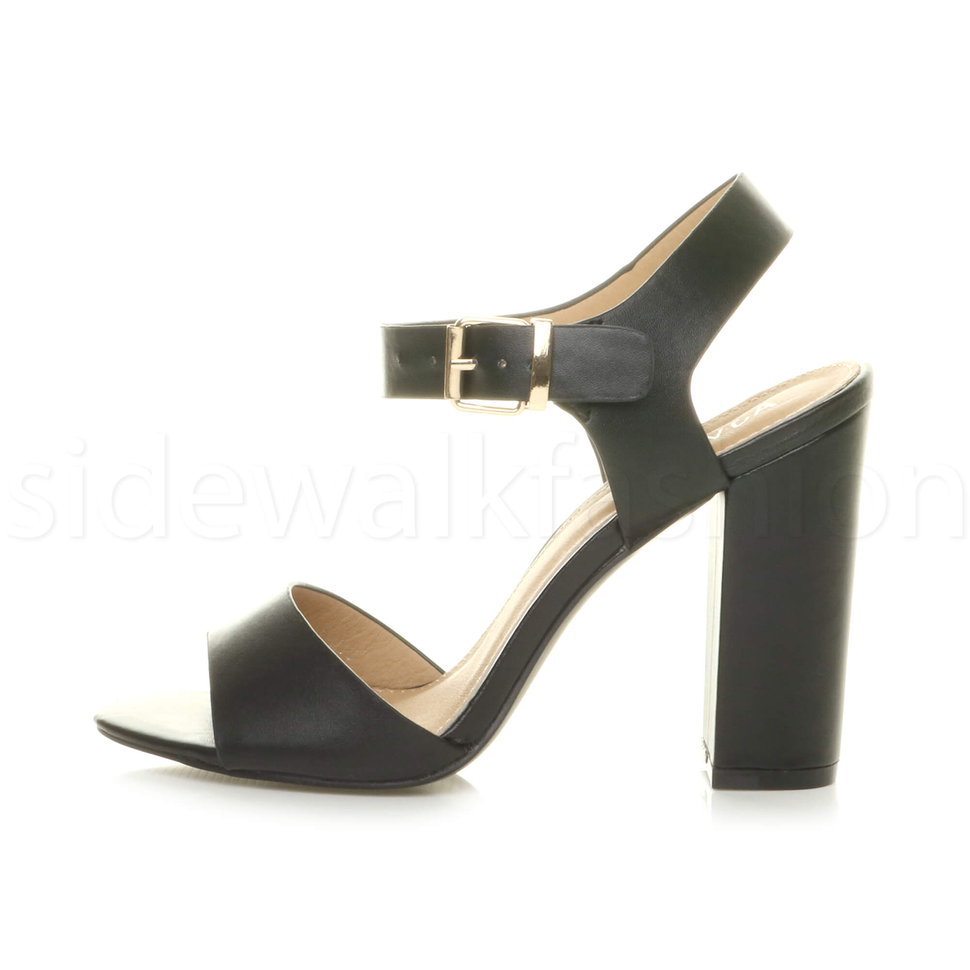 Womens-ladies-chunky-high-heel-buckle-strappy-barely-there-sandals-shoes-size thumbnail 3