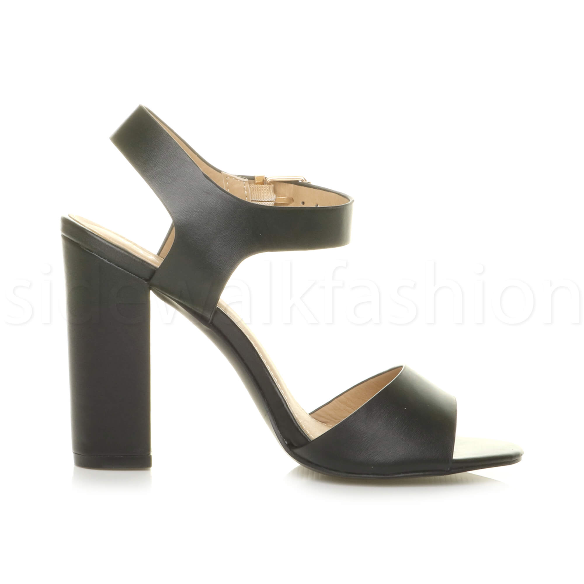 Womens-ladies-chunky-high-heel-buckle-strappy-barely-there-sandals-shoes-size thumbnail 4