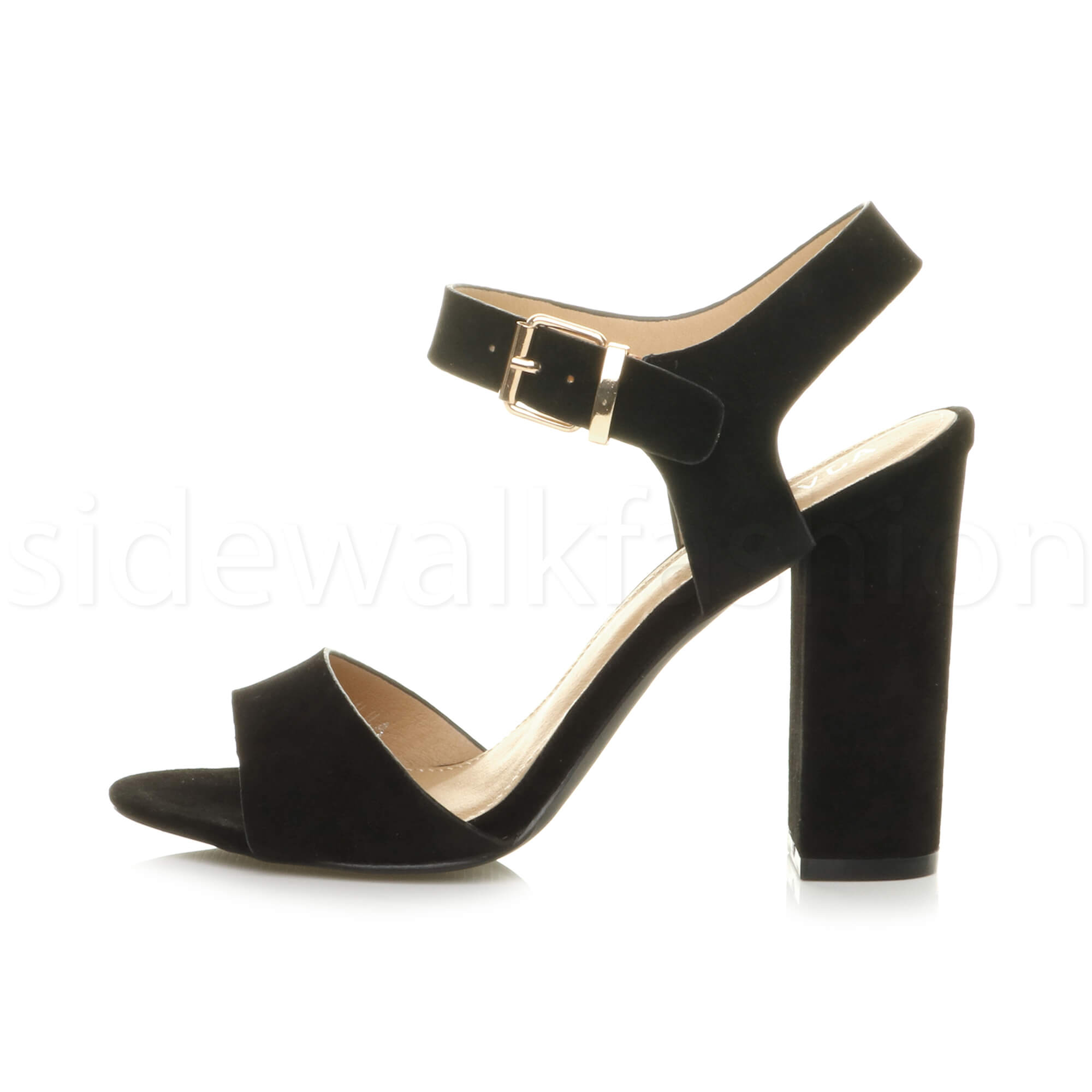 Womens-ladies-chunky-high-heel-buckle-strappy-barely-there-sandals-shoes-size thumbnail 8