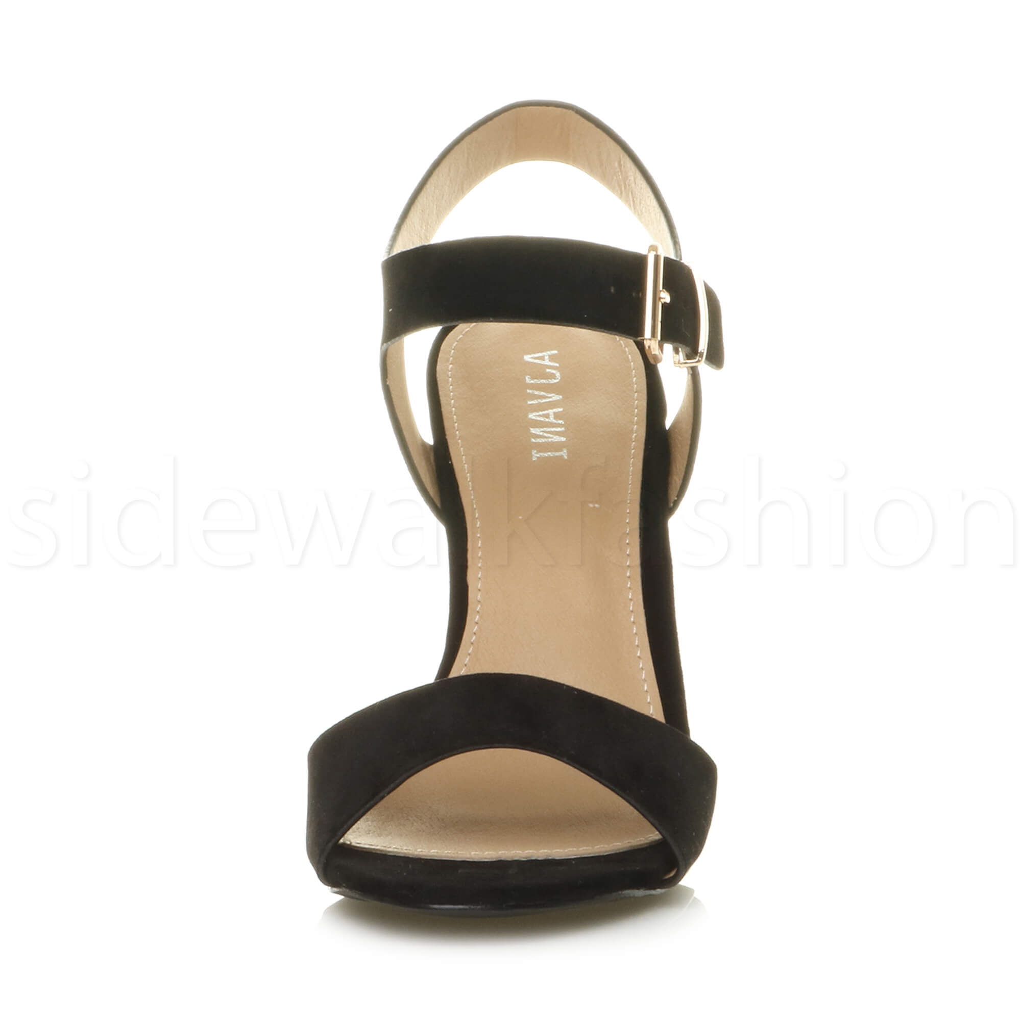 Womens-ladies-chunky-high-heel-buckle-strappy-barely-there-sandals-shoes-size thumbnail 11