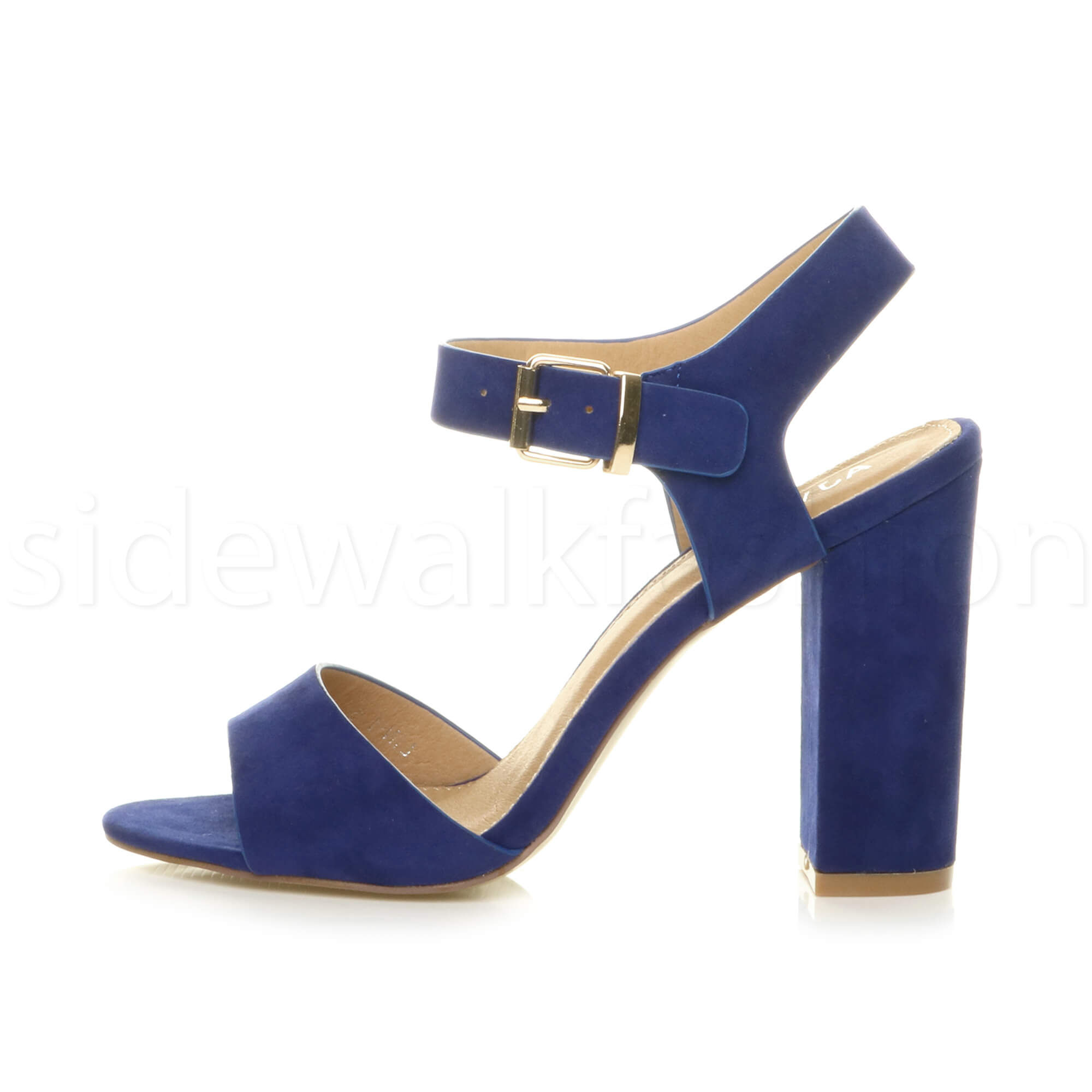 Womens-ladies-chunky-high-heel-buckle-strappy-barely-there-sandals-shoes-size thumbnail 13