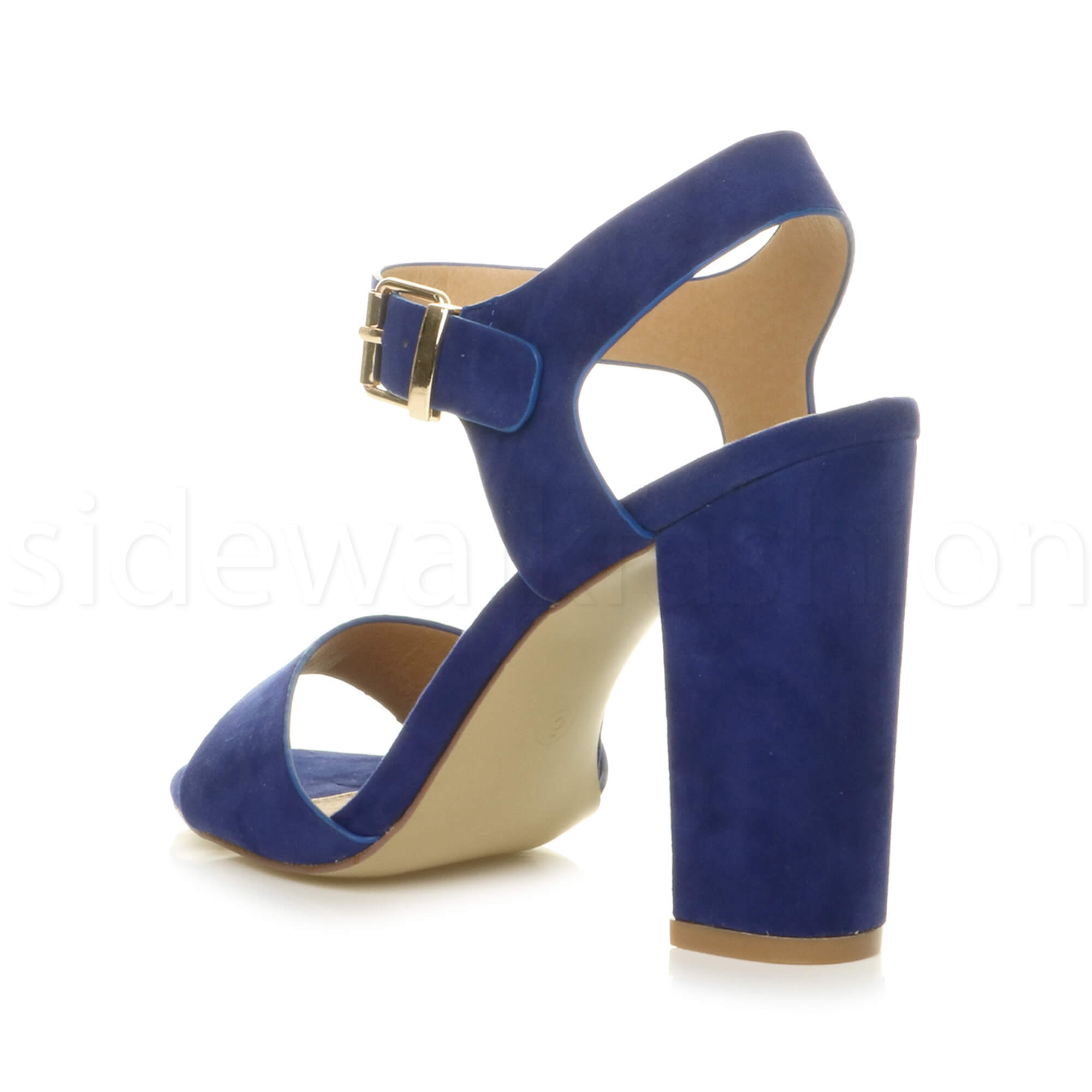 Womens-ladies-chunky-high-heel-buckle-strappy-barely-there-sandals-shoes-size thumbnail 15