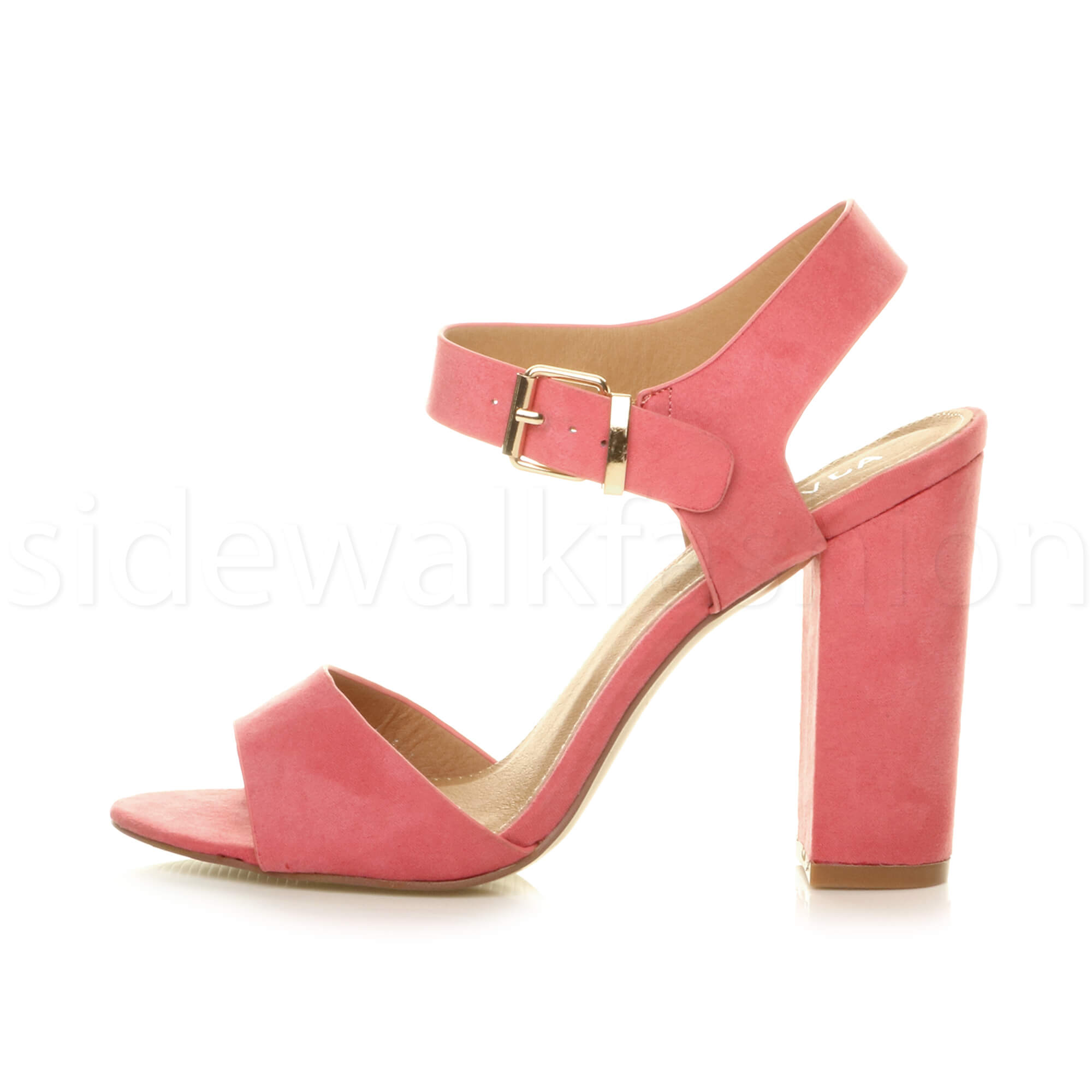 Womens-ladies-chunky-high-heel-buckle-strappy-barely-there-sandals-shoes-size thumbnail 18