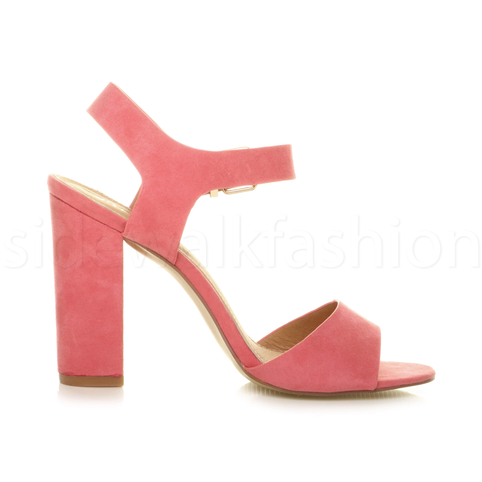 Womens-ladies-chunky-high-heel-buckle-strappy-barely-there-sandals-shoes-size thumbnail 19