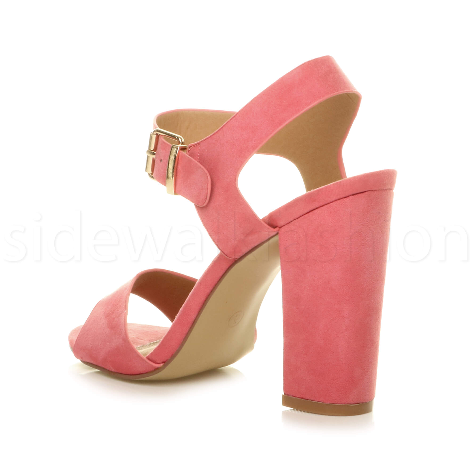 Womens-ladies-chunky-high-heel-buckle-strappy-barely-there-sandals-shoes-size thumbnail 20