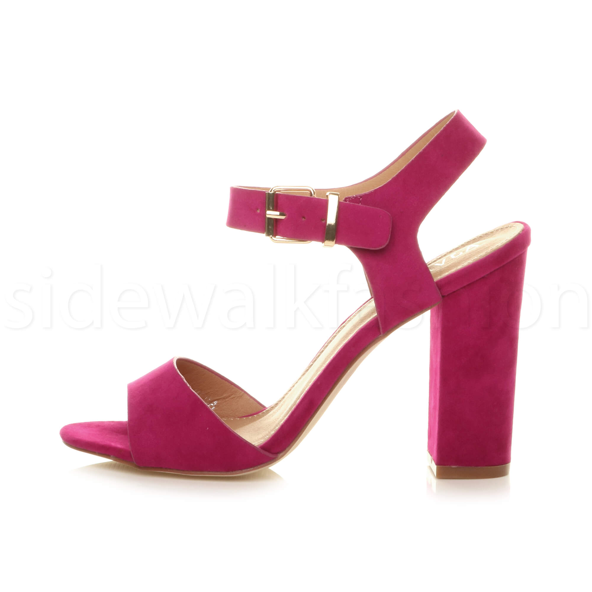 Womens-ladies-chunky-high-heel-buckle-strappy-barely-there-sandals-shoes-size thumbnail 23