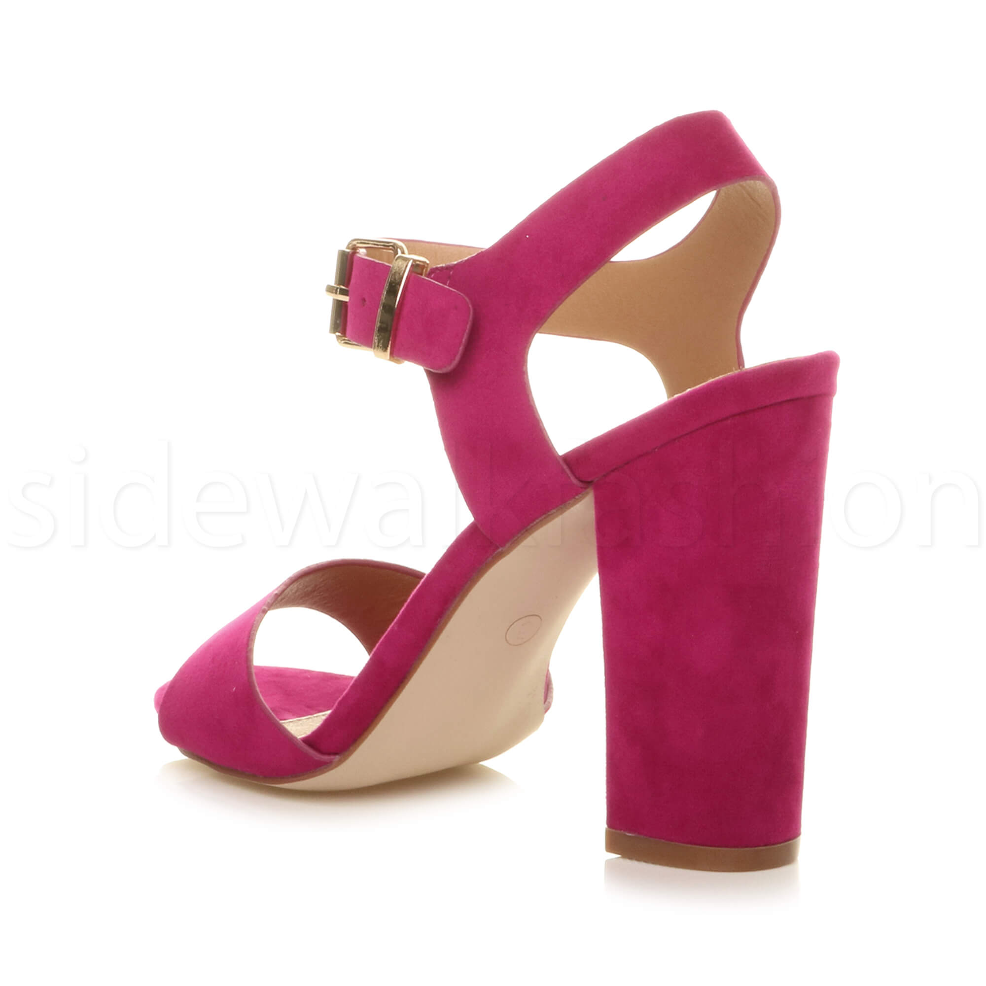 Womens-ladies-chunky-high-heel-buckle-strappy-barely-there-sandals-shoes-size thumbnail 25