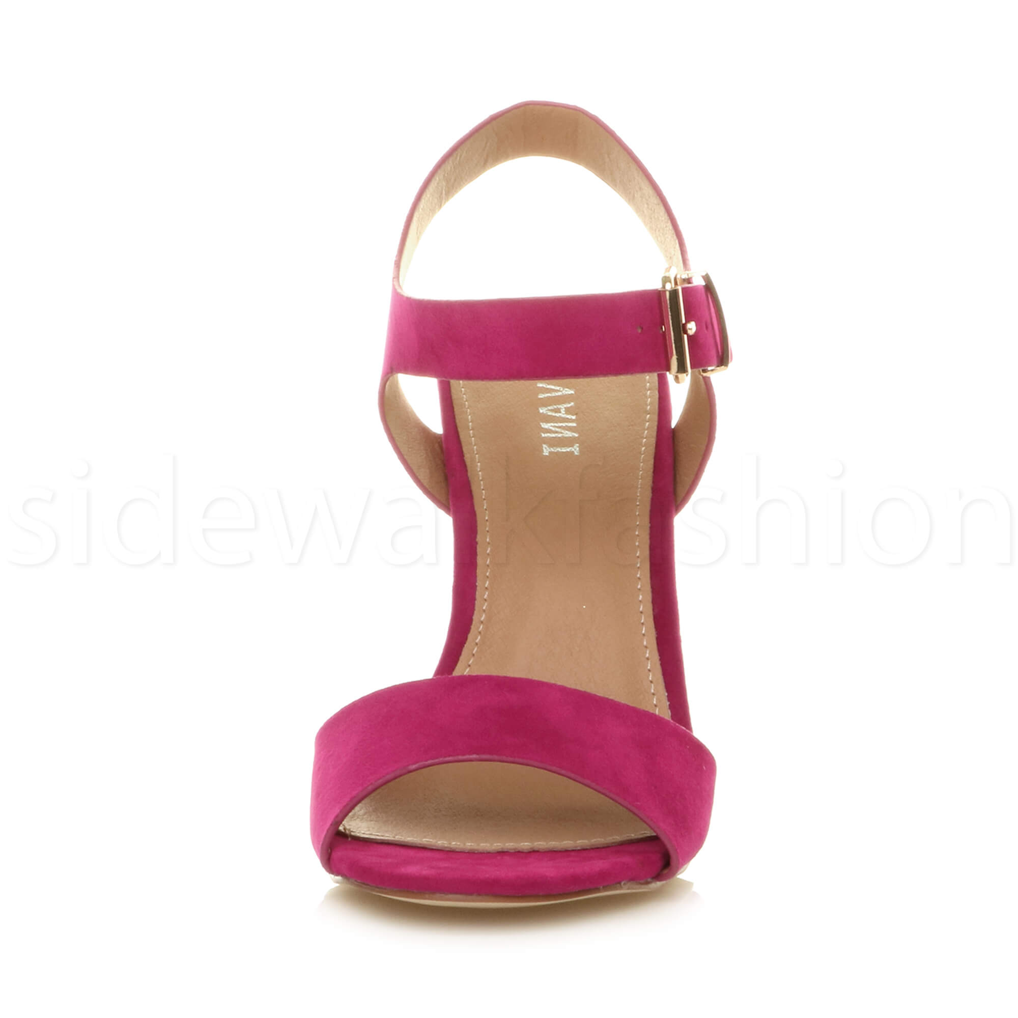 Womens-ladies-chunky-high-heel-buckle-strappy-barely-there-sandals-shoes-size thumbnail 26